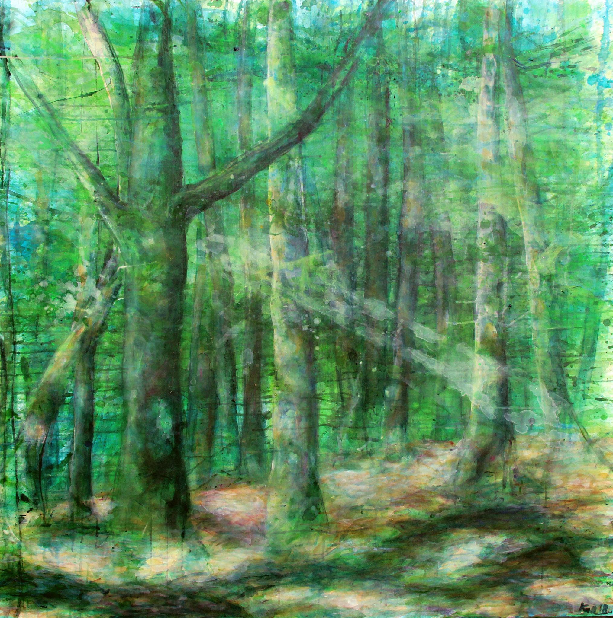 forest wisdom, Acryl auf Leinwand, 120 x 120 cm, 2018