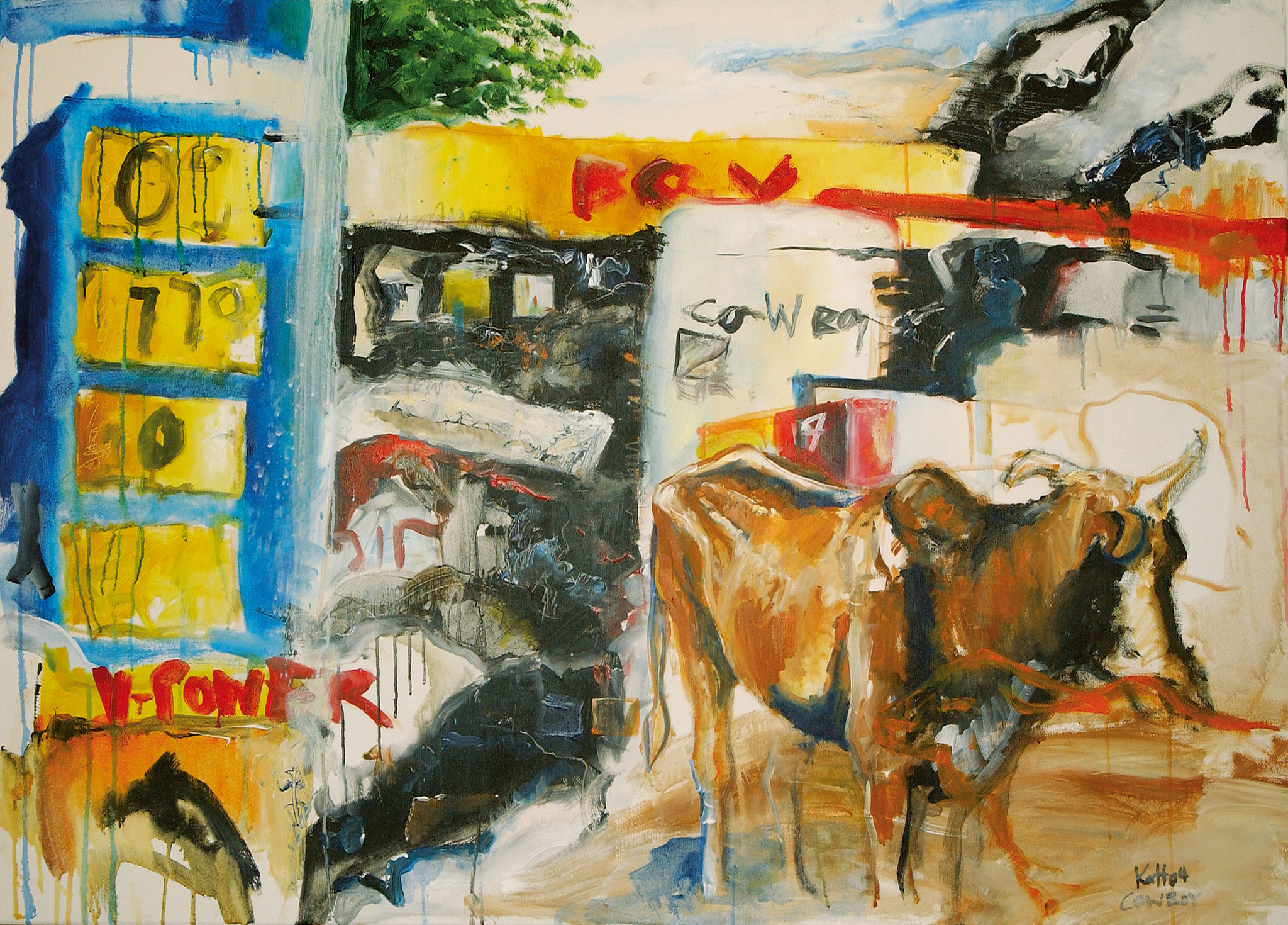 cow_boy, Acryl auf Nessel, 100 x 160 cm, 2004