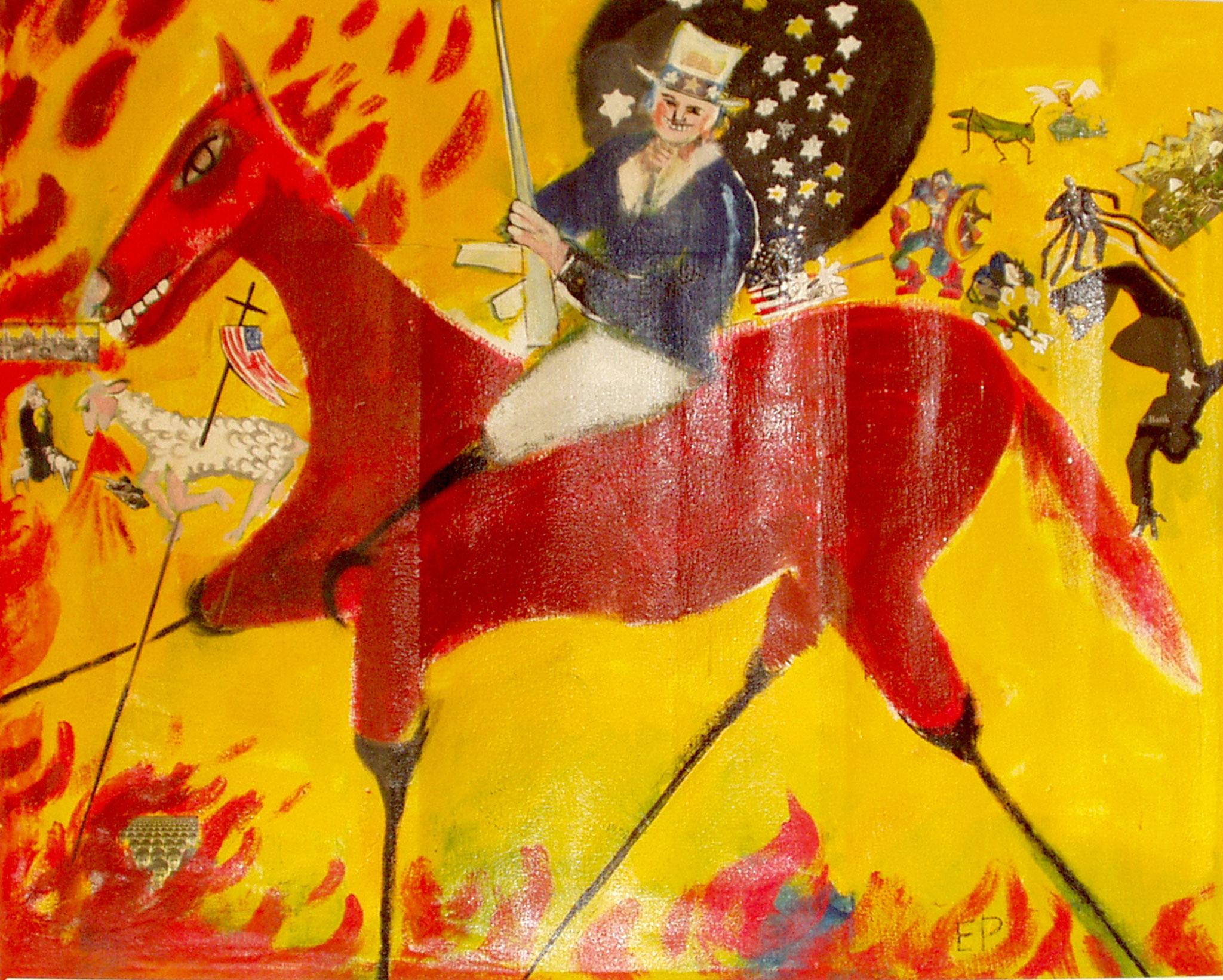 Serie Apokalyptische Reiter, Uncle Sam, Malerei Collageelemente, 145 x 180 cm, 2002