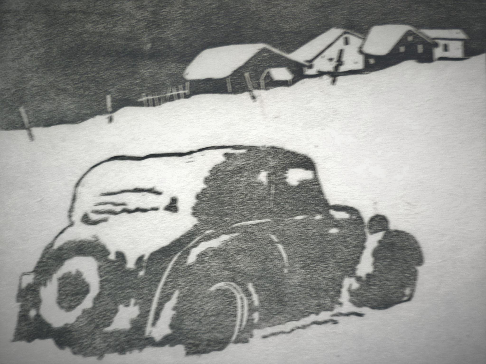 eingeschneit II, Holzschnitt, 40 x 50 cm