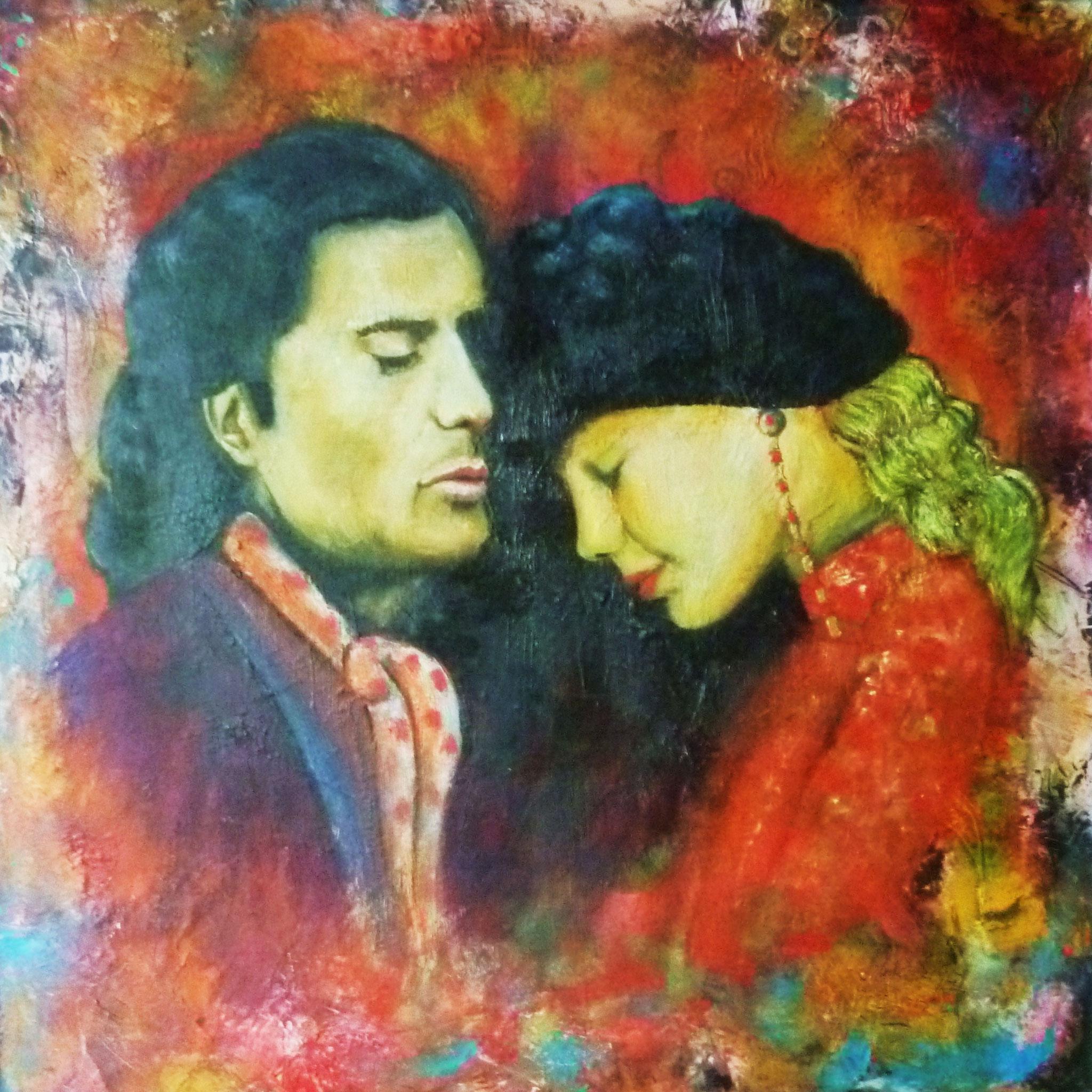Liebende, Öl auf Leinwand, 50 x 50 cm