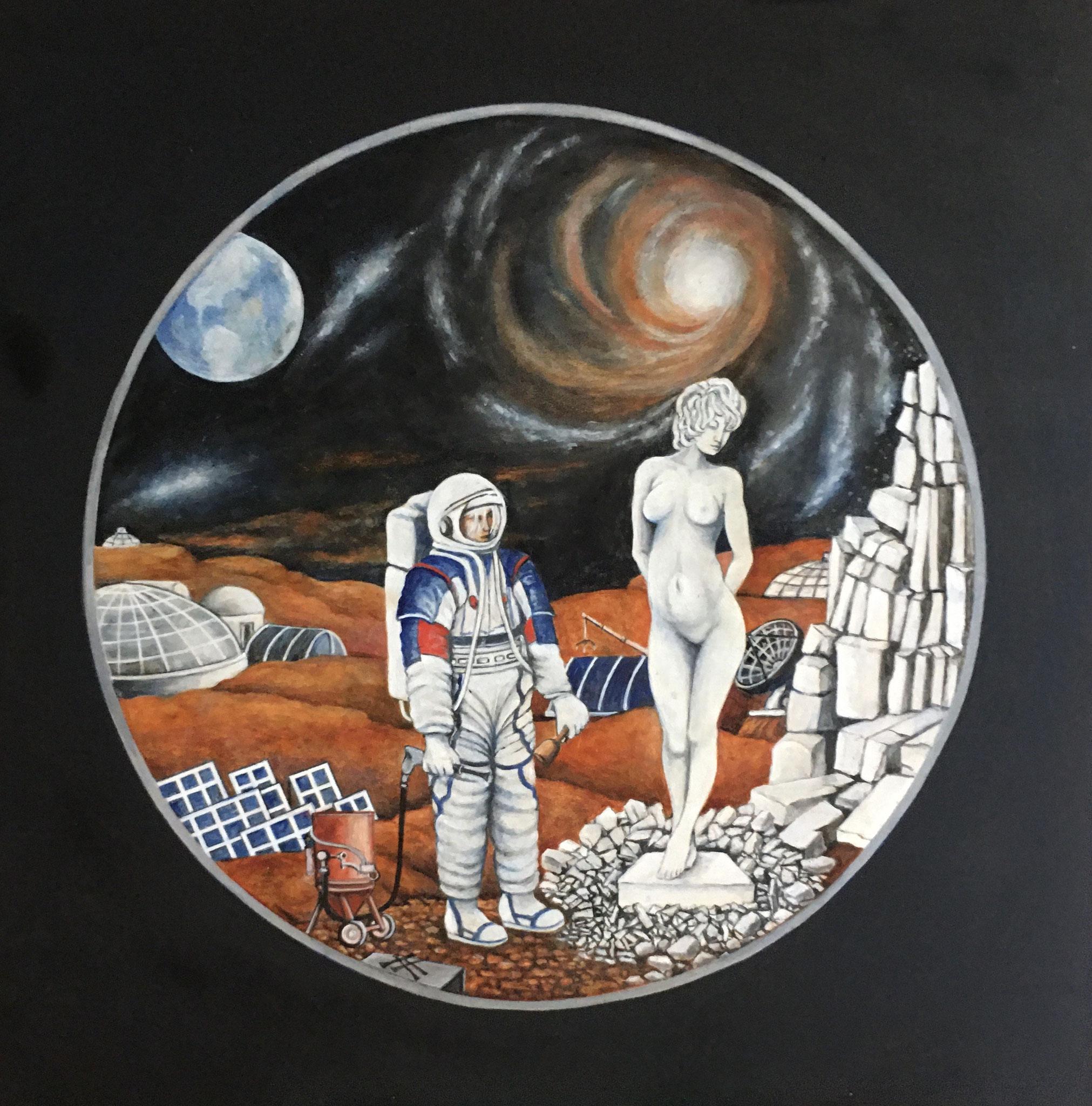Pygmalion und Galatea, Acryl/öl, 50 x 50 cm, 2020