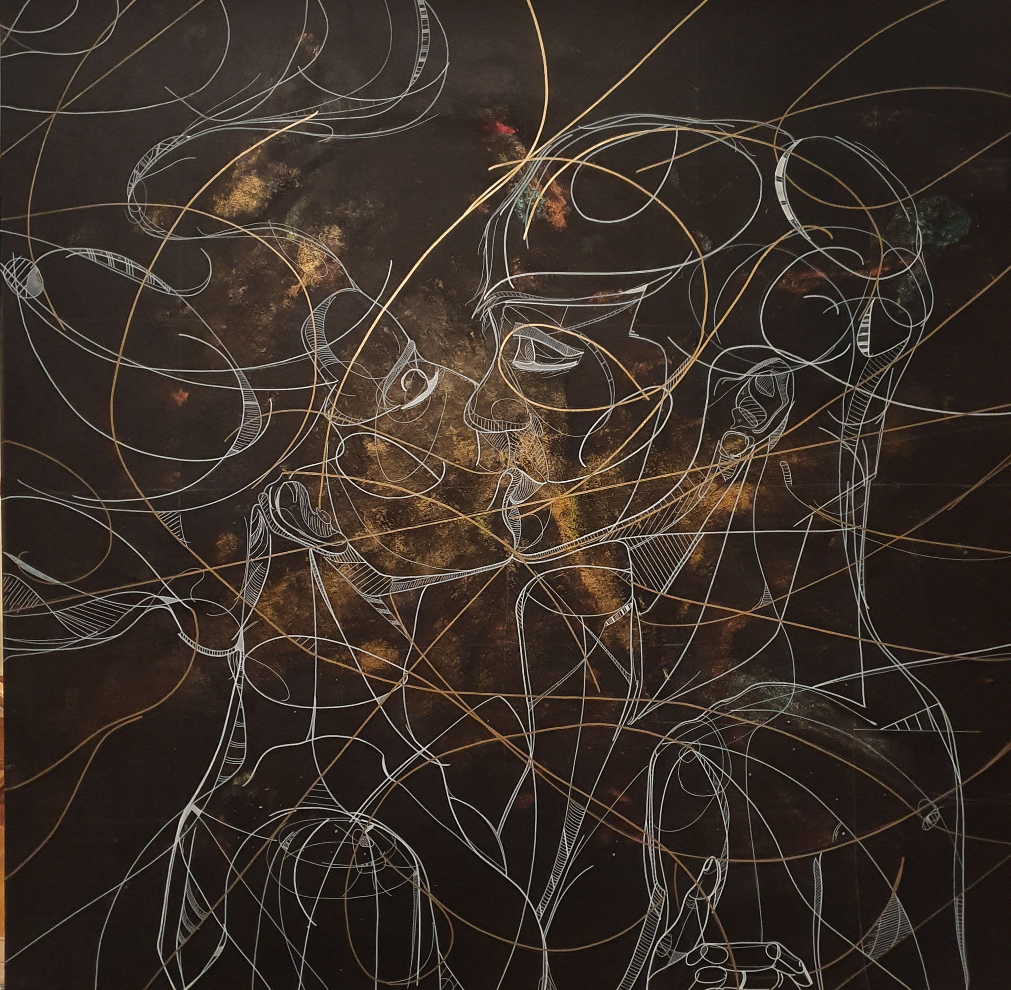 golden explosion of love, 180x180cm, 2020, Acryl auf Leinwand
