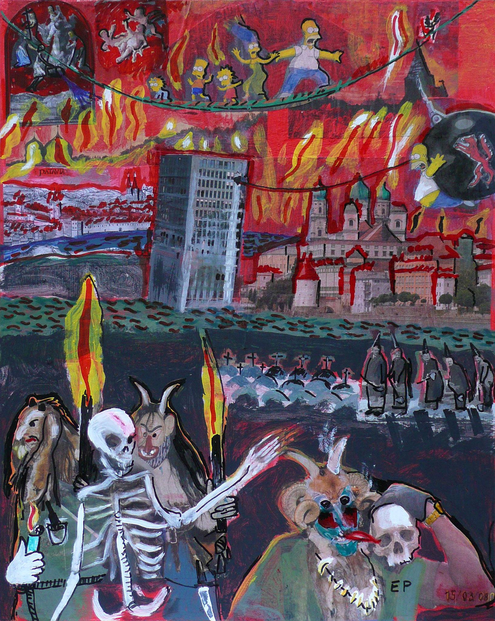 Der Untergang der Stadt Passau, Malerei/Collageelemente, 70 x 50 cm, 2006