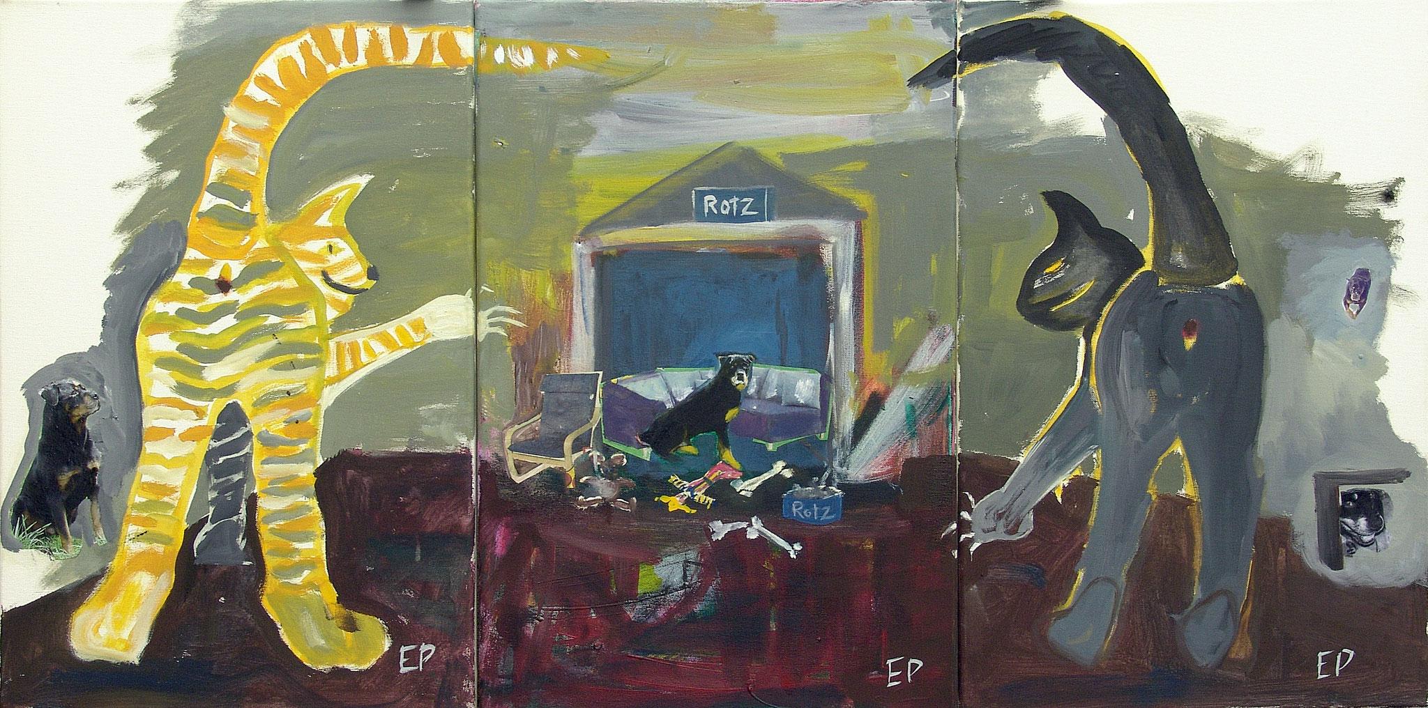 Eva Priller: Motz und Murkel diese beiden konnten Rotti Rotz nicht leiden, 2010, Malerei/Collage auf Leinwand 3x40x60cm