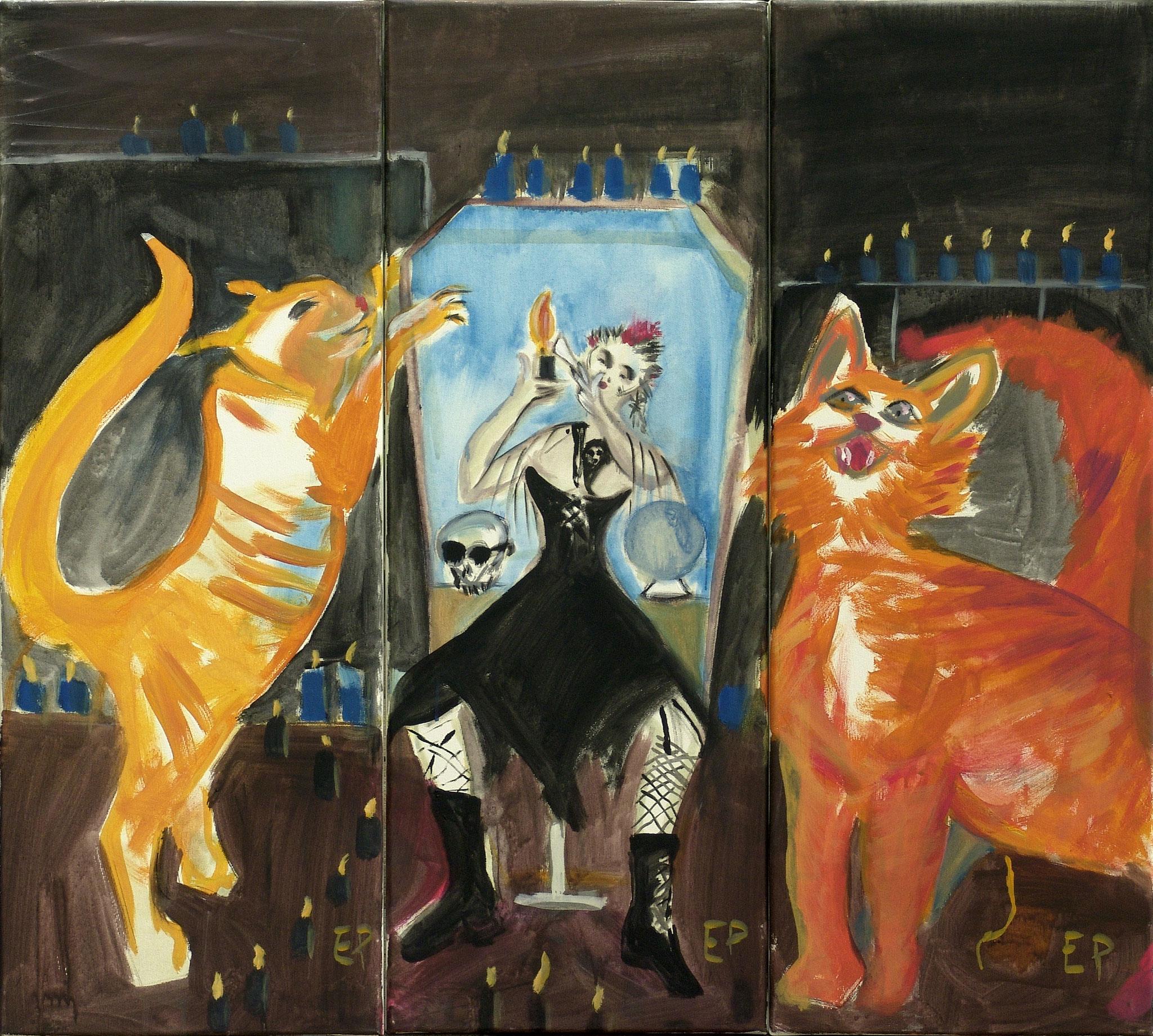 Eva Priller: Paulinchen war allein zu Haus, 2010,  Malerei auf Leinwand 3x30x80