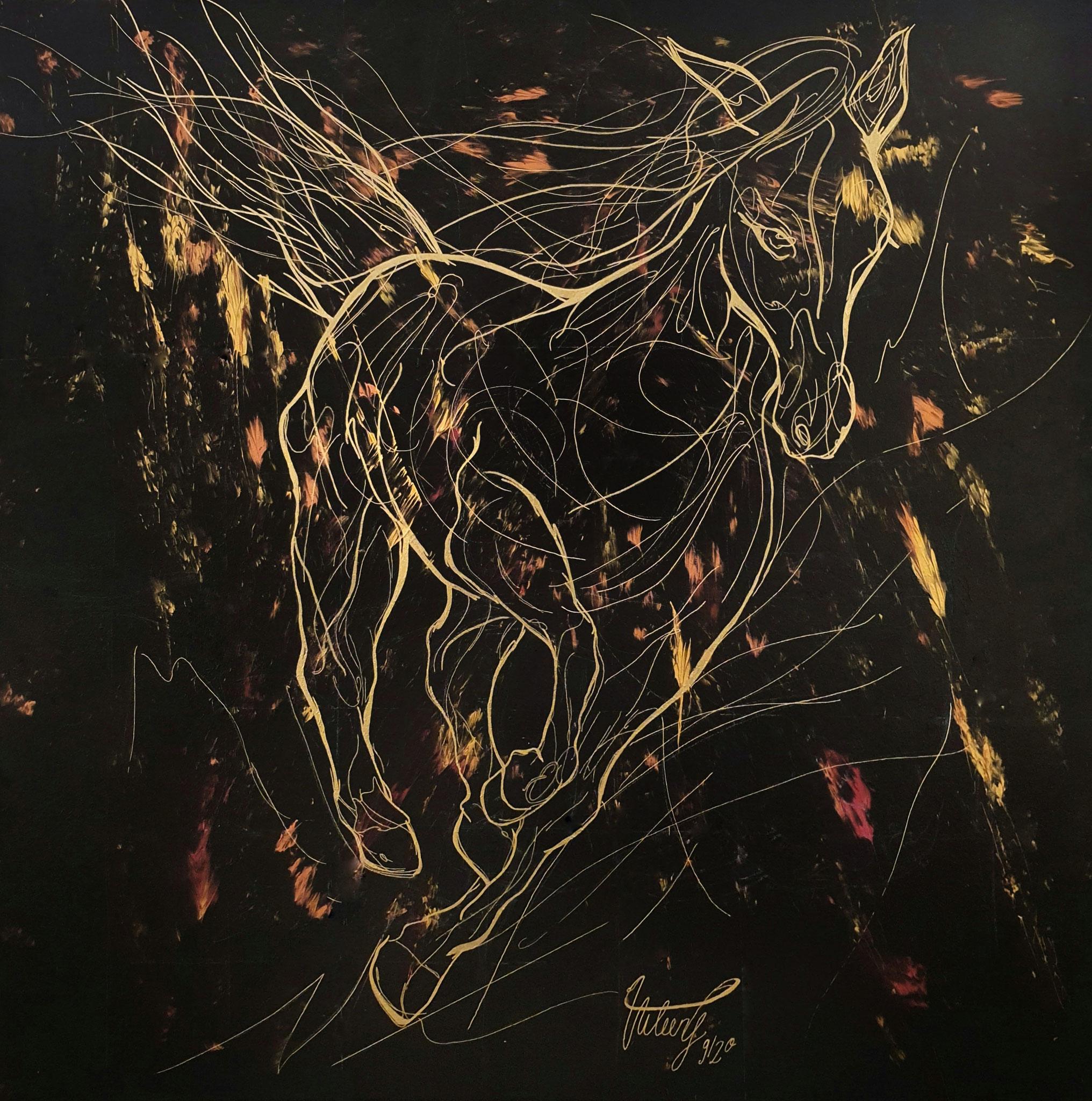 Virgi Aileen: wild horse, Acryl und Tempera auf Leinwand, 2020, 100x100cm