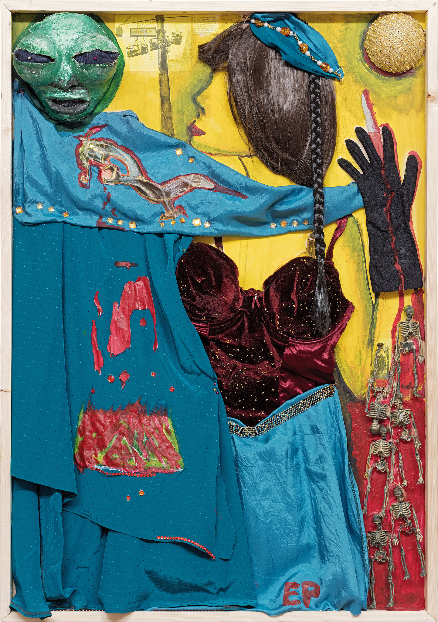 Serie Dramendamen, Turandot, Malerei Assemblage, 100 x 70 cm, 2017