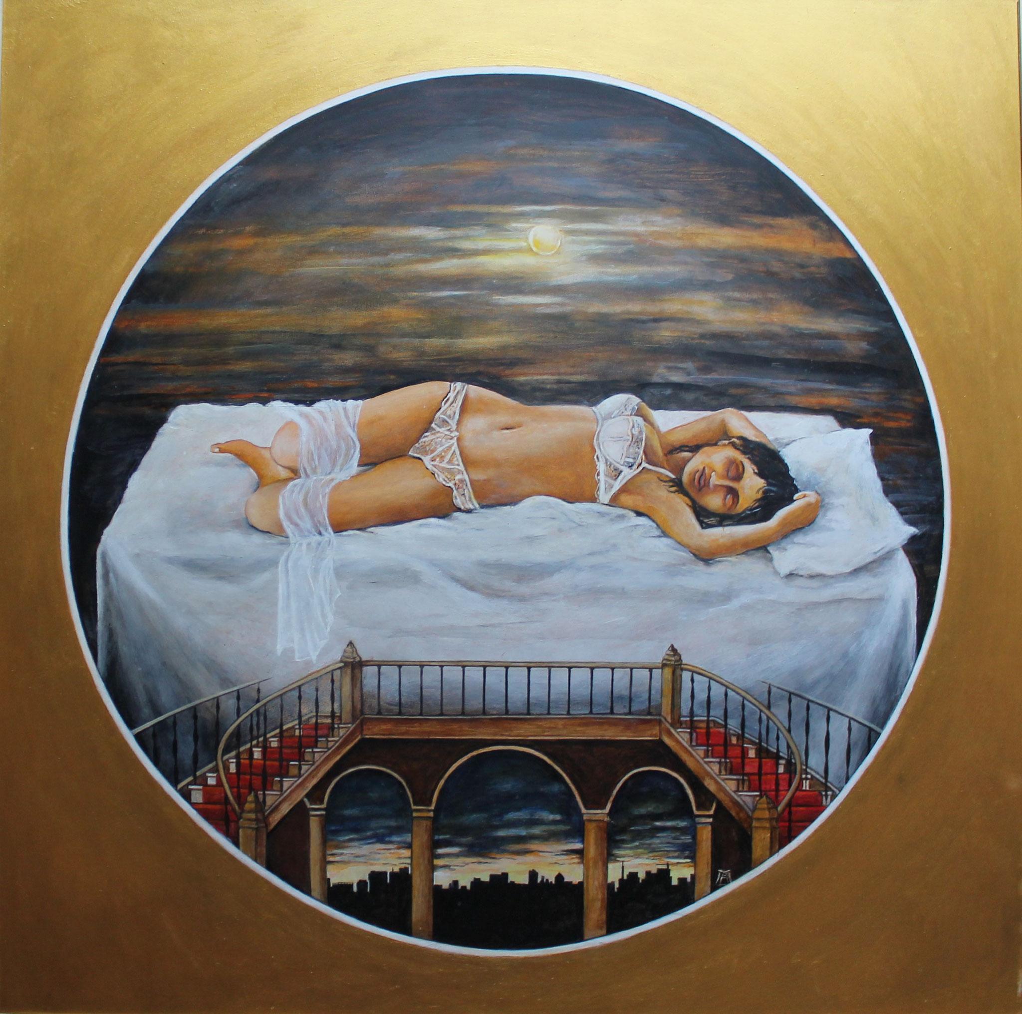 Stairway to Heaven, Acryl/Öl, 60 x 60 cm, 2016
