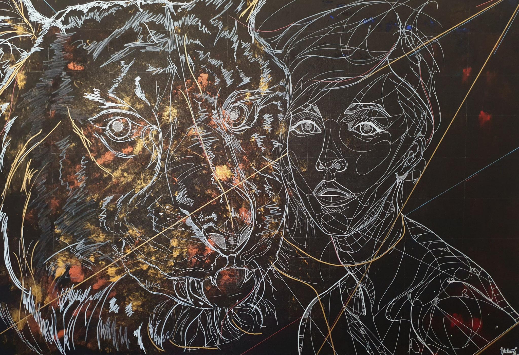 the silence, 150x100cm, 2020, Acryl und Öl auf Leinwand