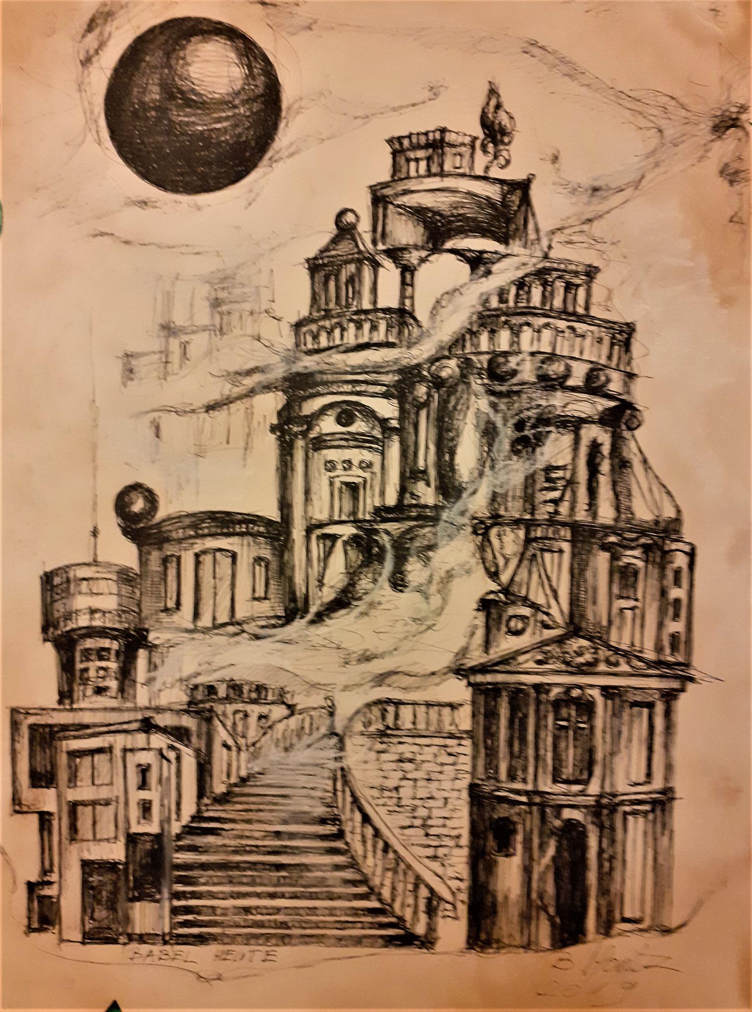 """""""Utopische Städte"""", Zeichnung, DIN A3"""