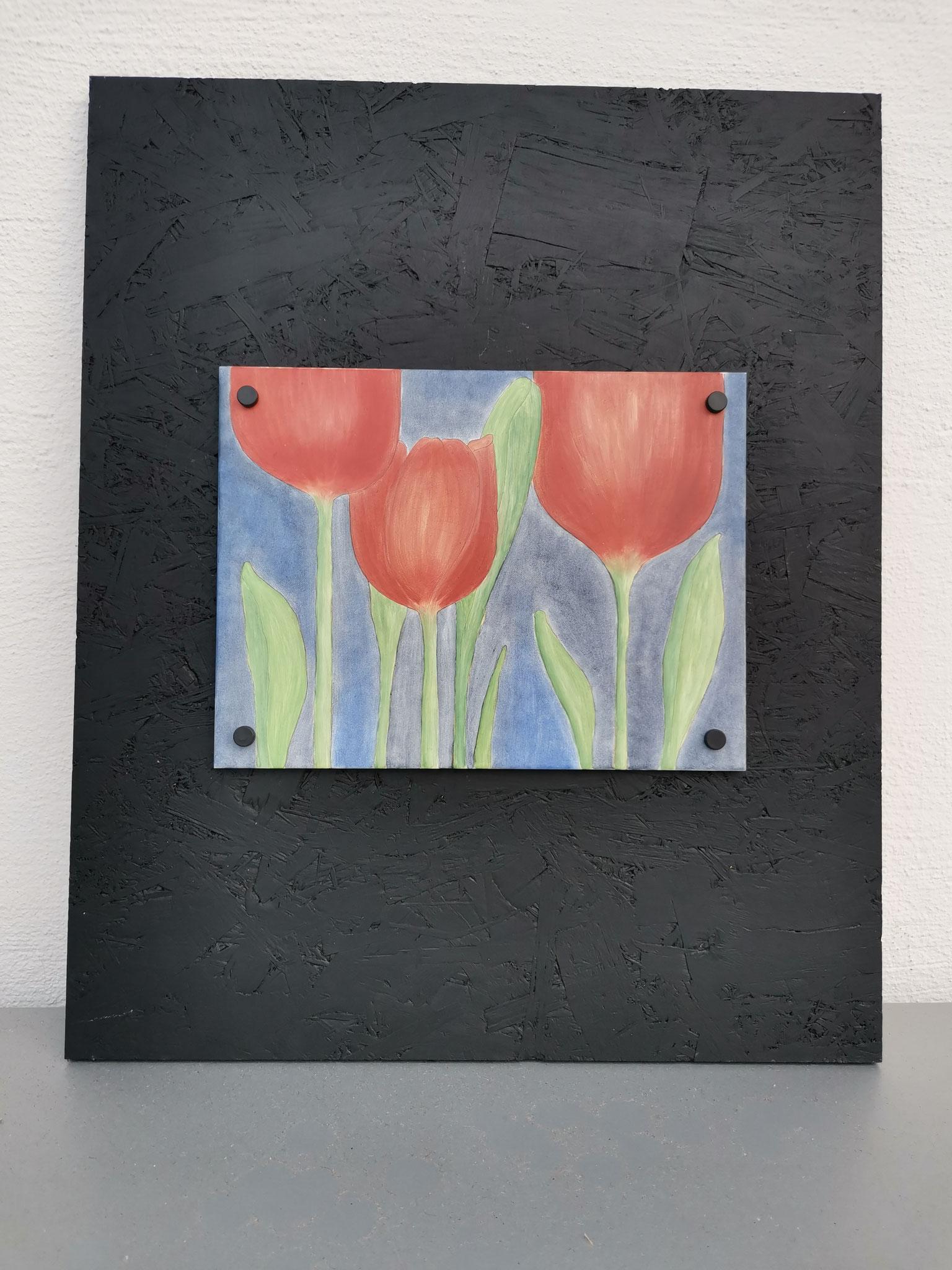 Tulpen auf OSB: Gemalt auf Keramikplatte, ca. 20x30 cm, montiert auf OSB-Platte