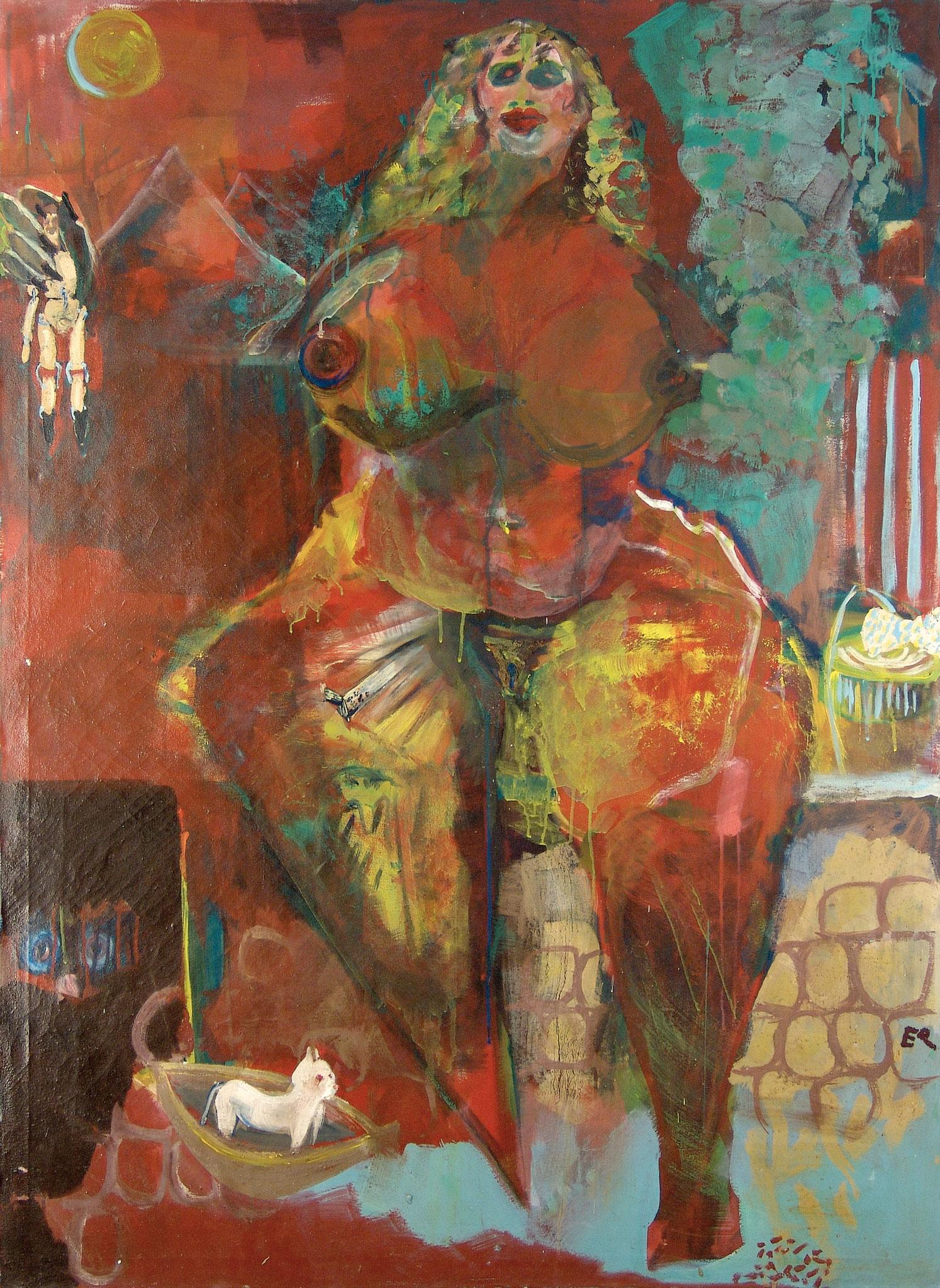 Serie Päpstinnen, Urpäpstin Eva, Malerei, 160 x 120 cm, 1990