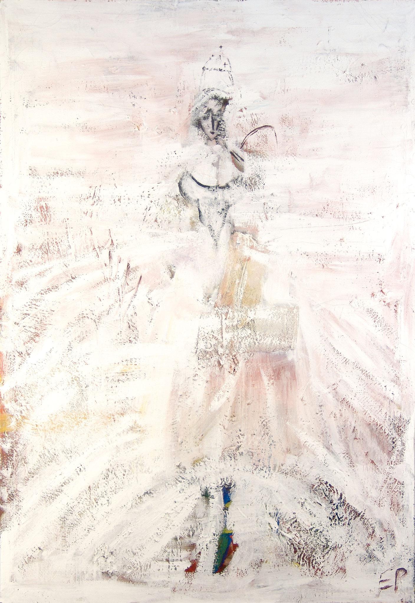 Serie Päpstinnen, Die weiße Frau, Malerei, 160 x110 cm, 1999