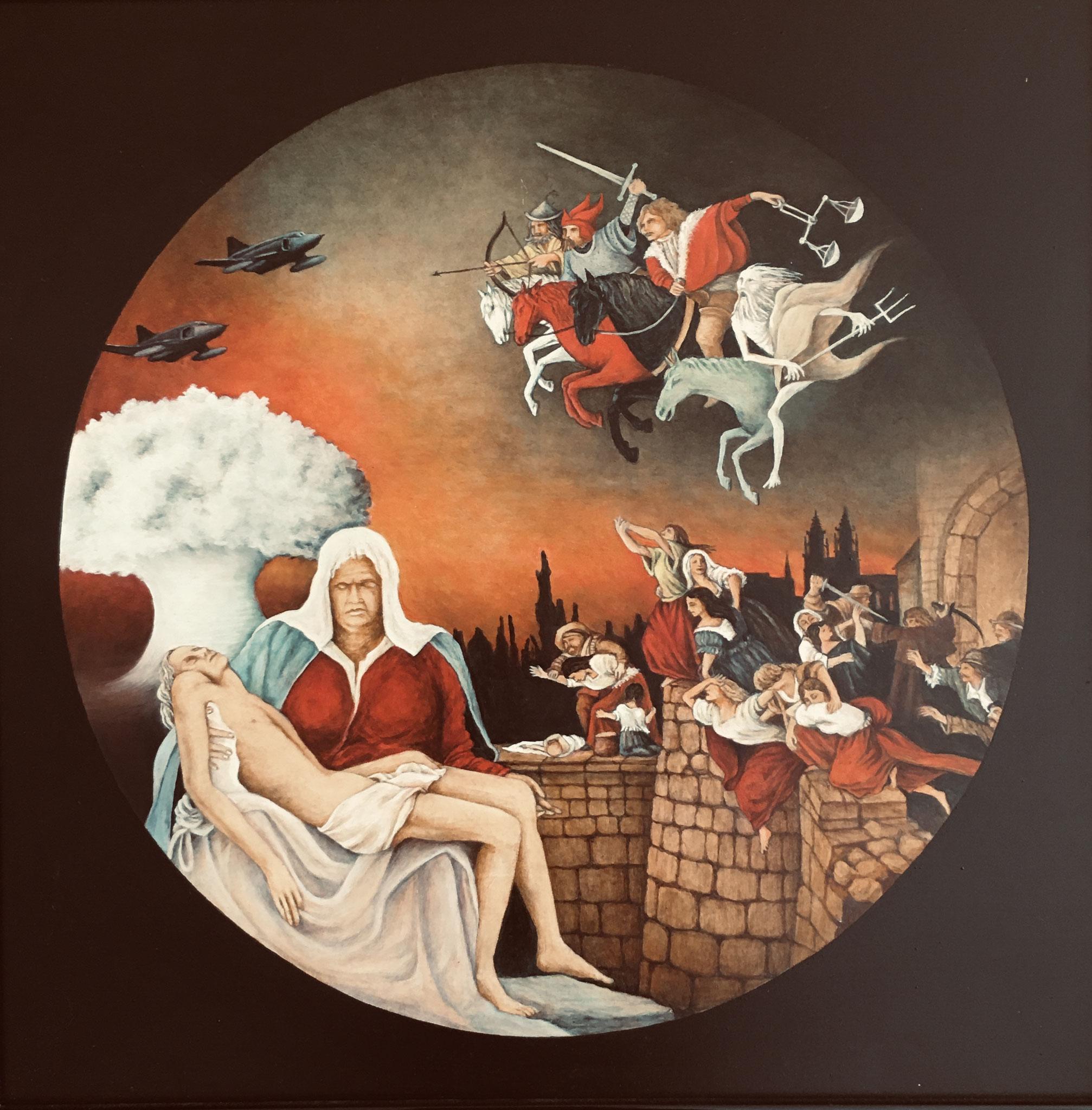 Allegorie Krieg, Acryl/ÖL, 50 x 50 cm, 2016