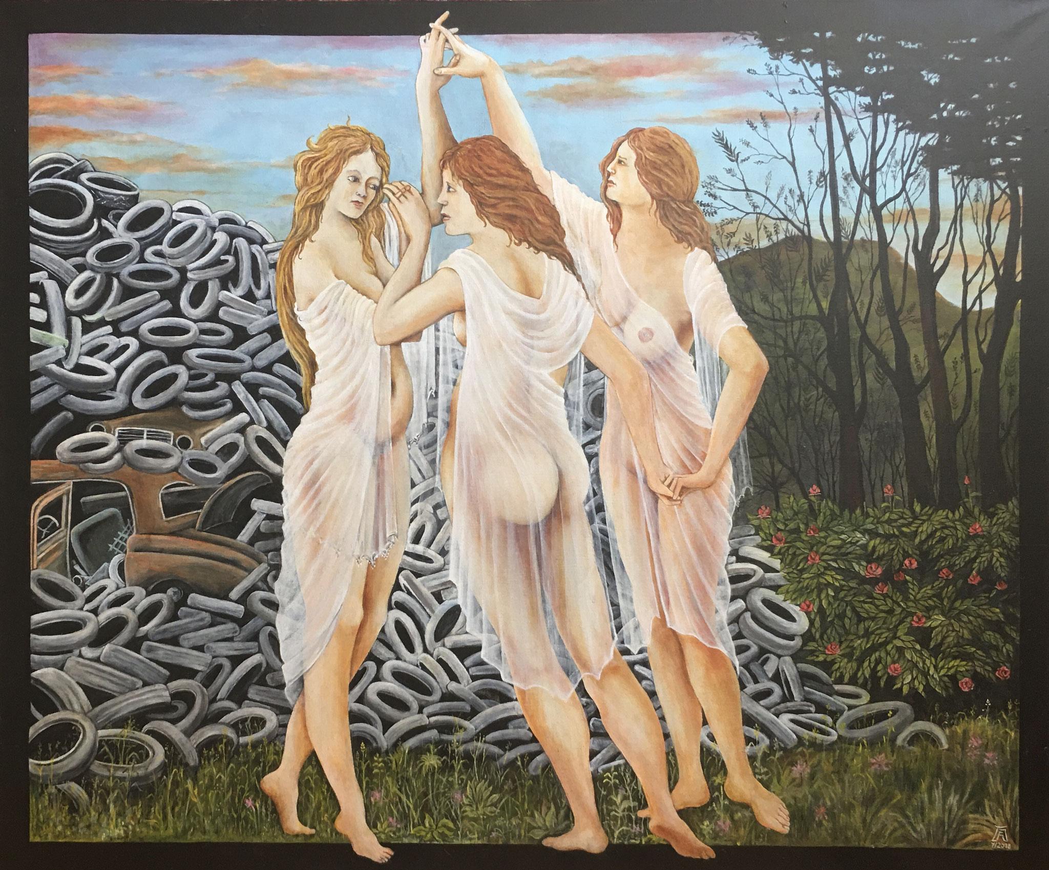 Botticellis Grazien tanzen ins XXI. Jahrhundert, Acryl/Öl, 120 x 100 cm, 2018