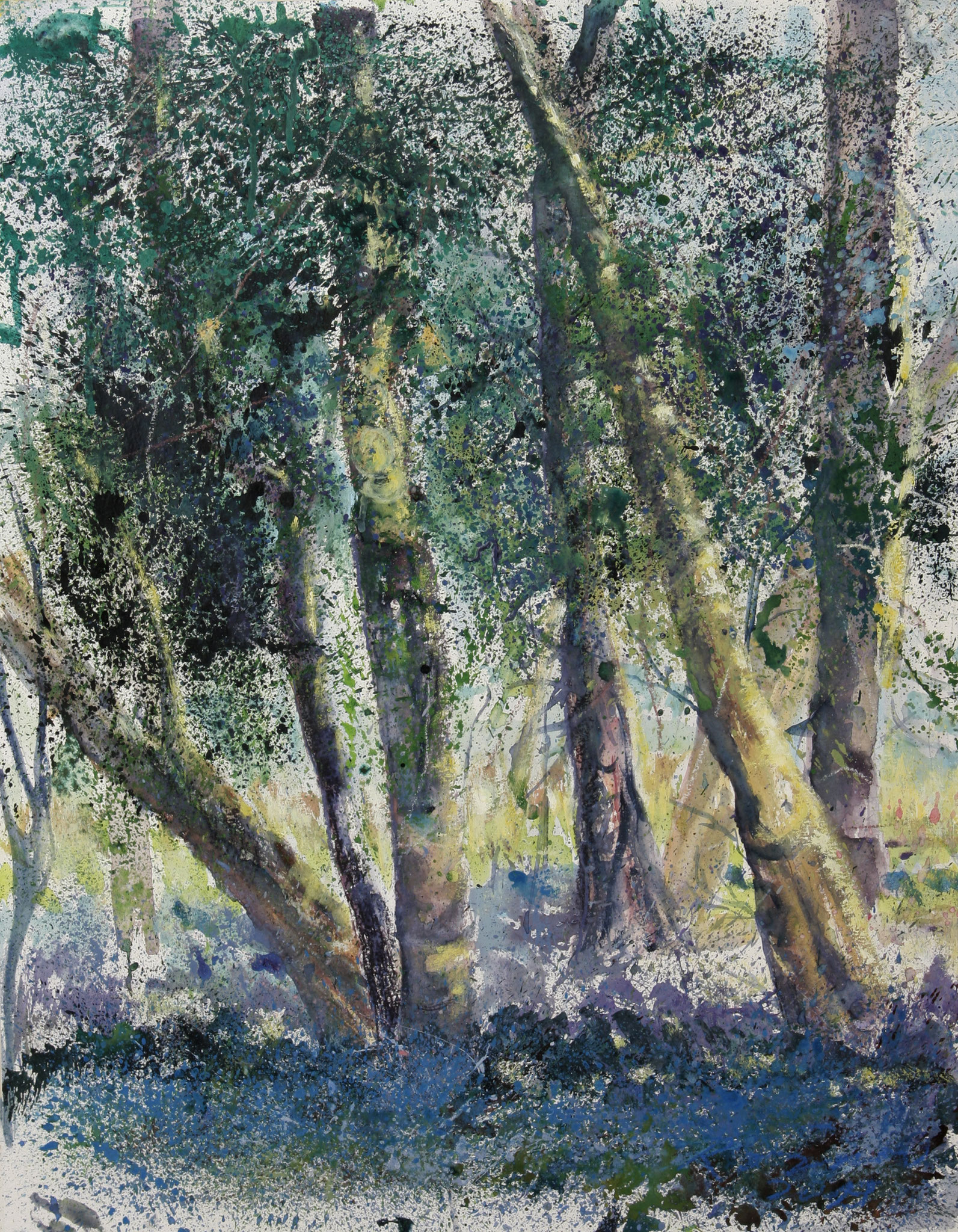Glockenblumen im Wald, Acryl