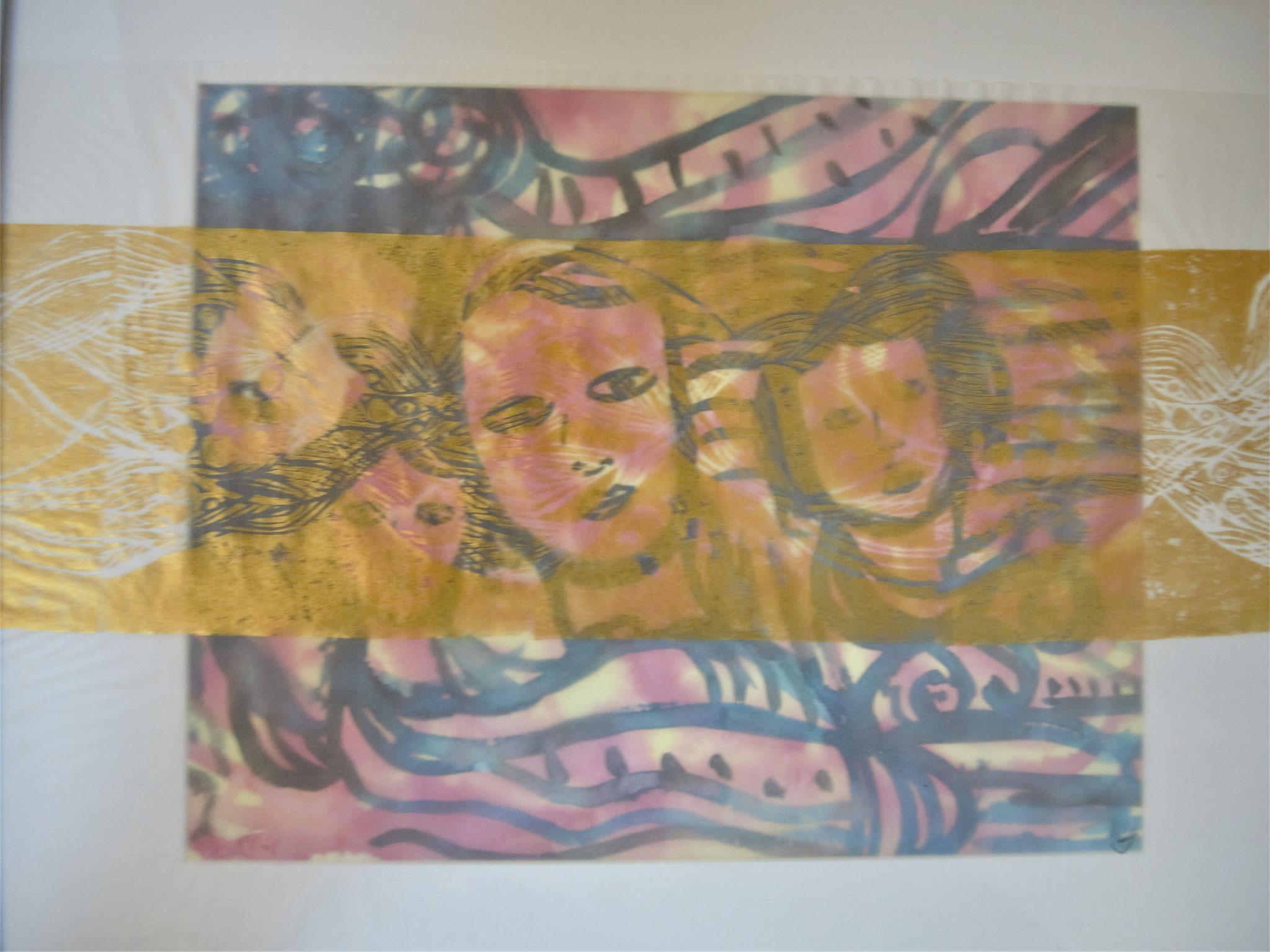 Aquarell mit Linoldruck auf Transparentpapier, 40 x 50cm, 2020