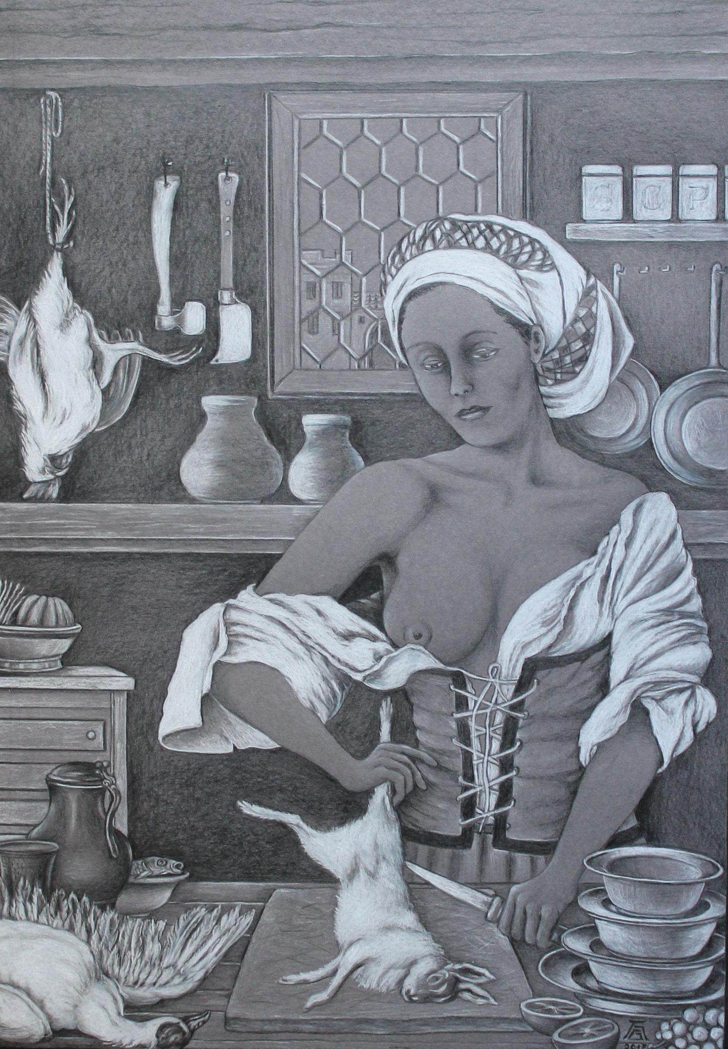 In der Burgküche, Schwarz-/Weißstift auf grauem Karton, 50 x 70 cm, 2017