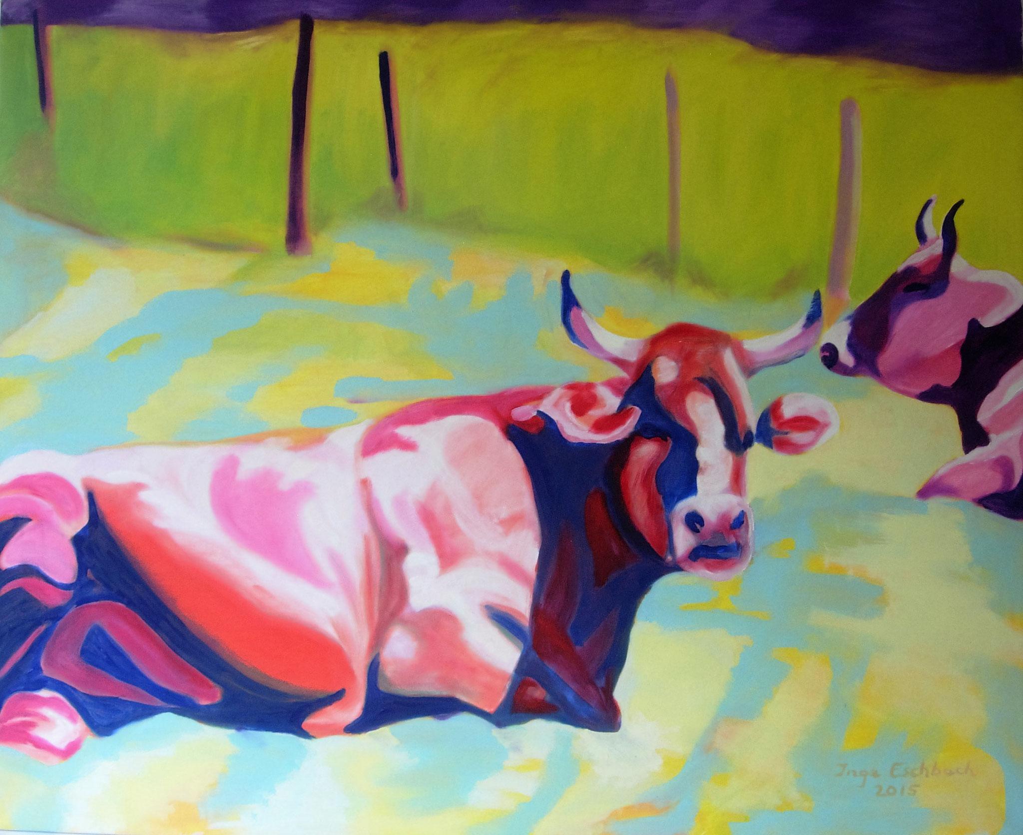 Kühe, Acryl a. Leinwand, 90x100cm