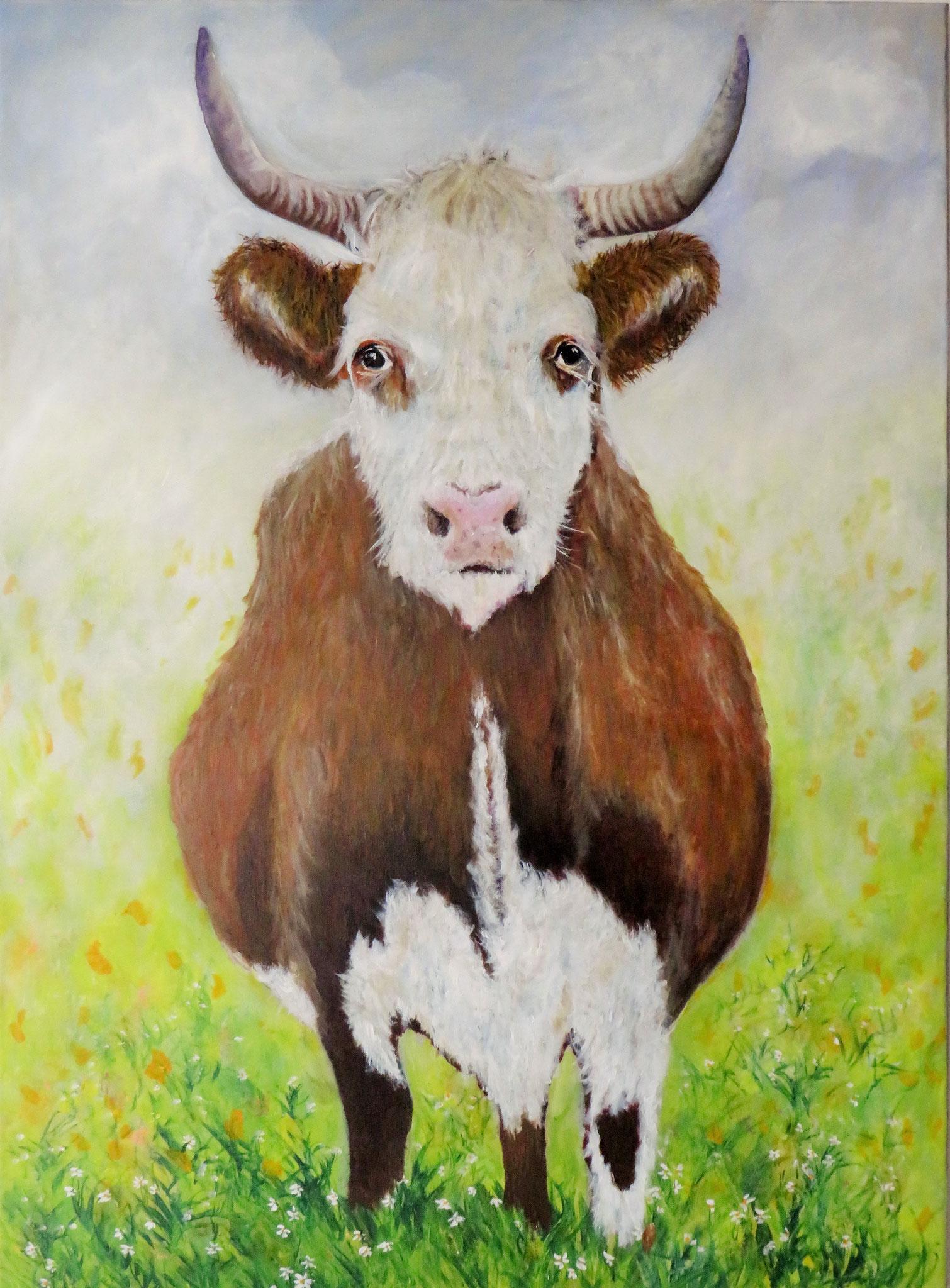 Kuh auf der Weide, Acryl, 100x70 cm