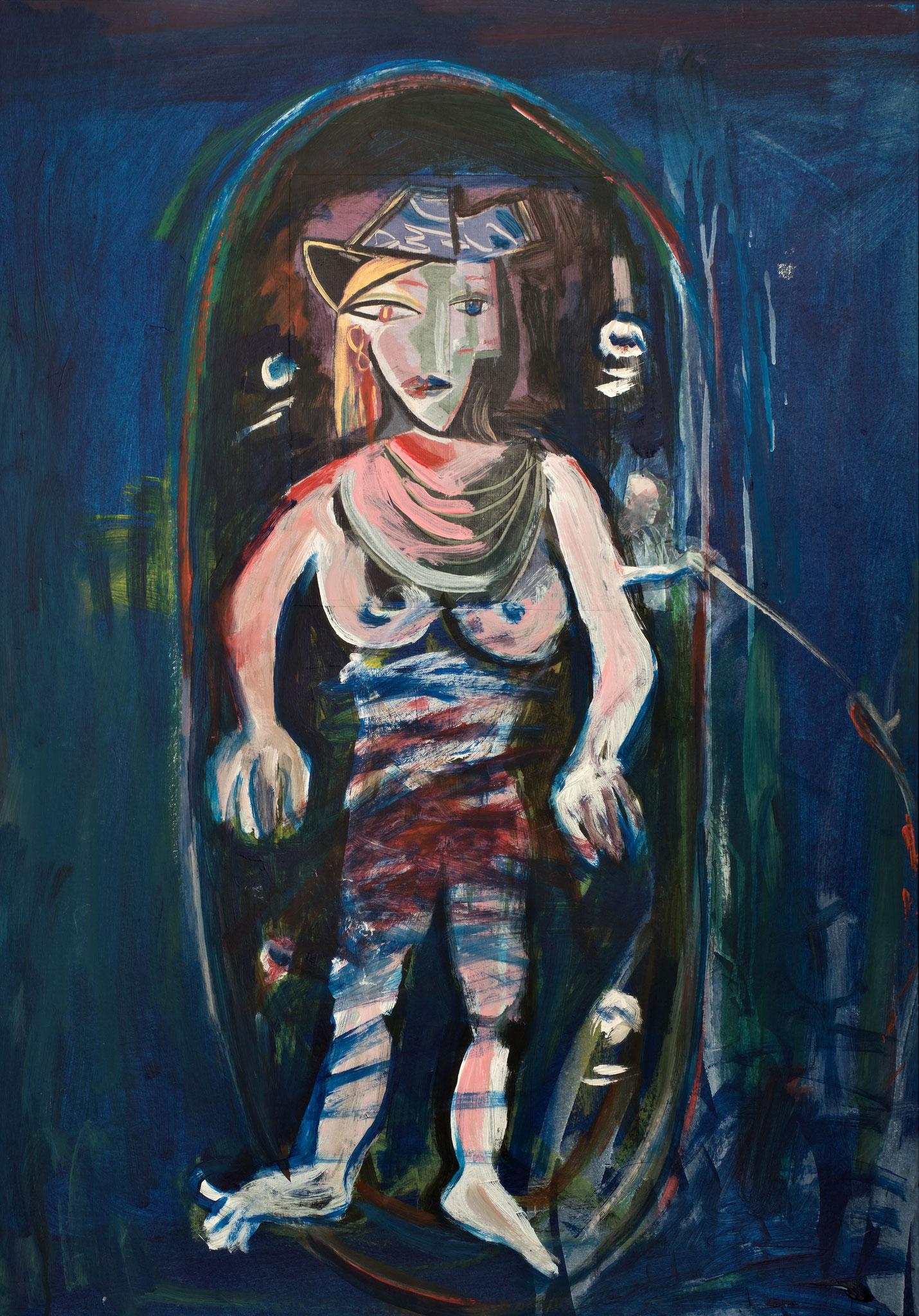 Serie Badschwestern, Malaga, Hommage an Picasso, Malerei Collageelemente, 100 x 70 cm, 2013