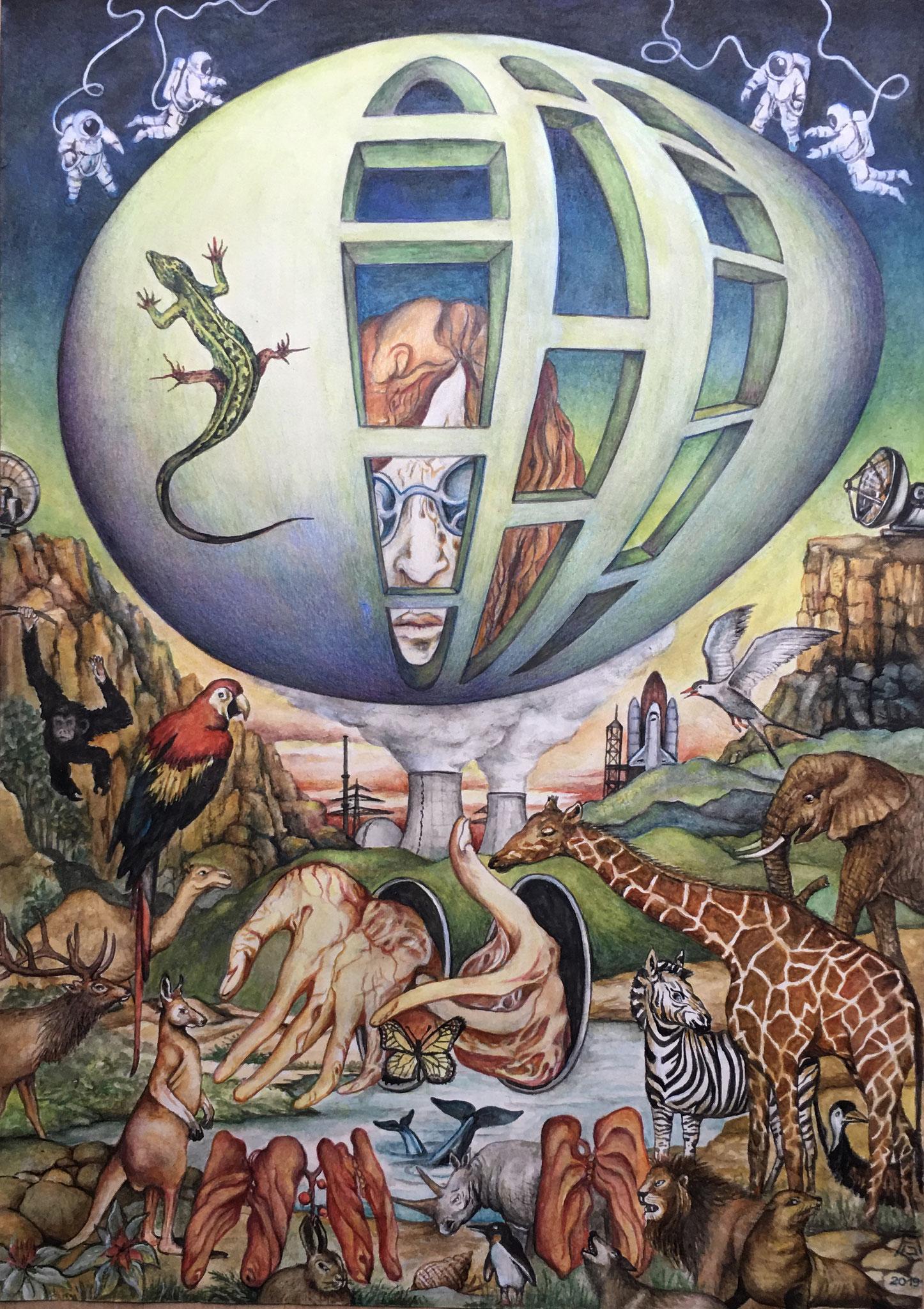 Gerard Glotz: Eroberung der Welt Nass-/Trocken-Aquarell, 2020 50 x 70 cm