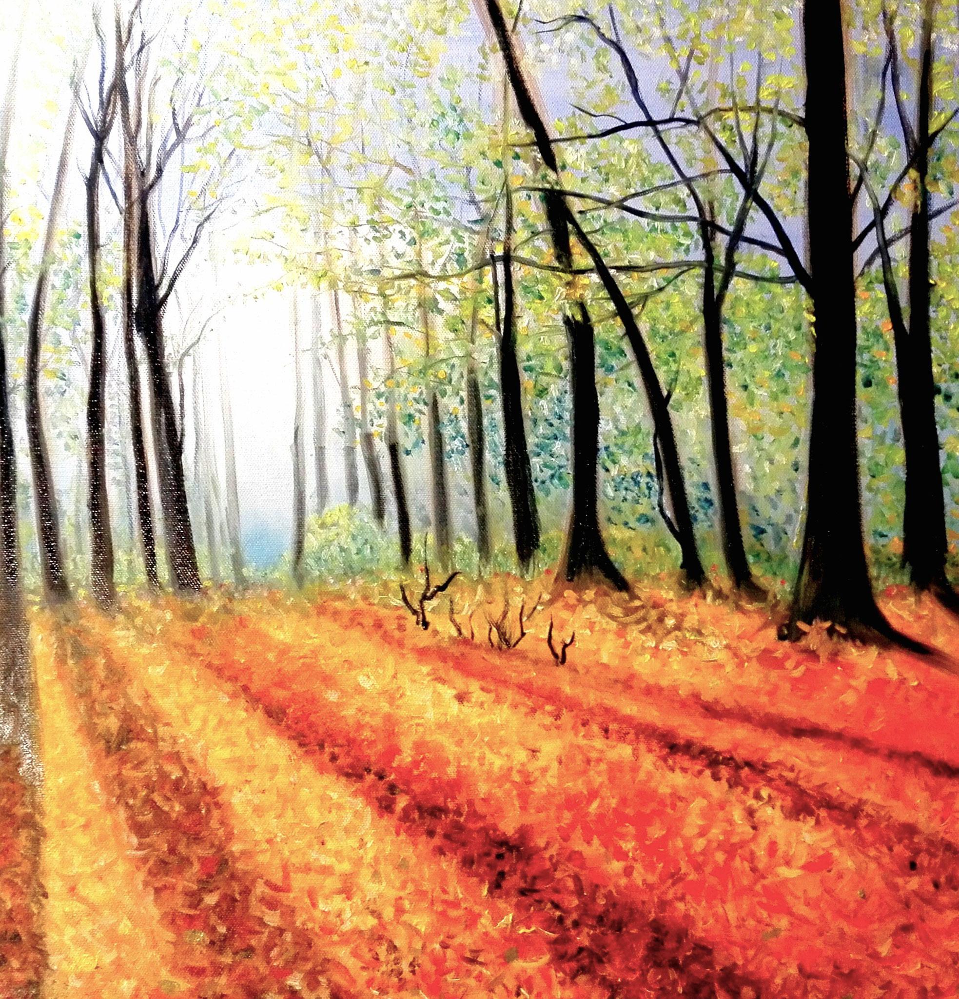 Bayerischer Wald, Oilpainting, 50x50 cm, 2017