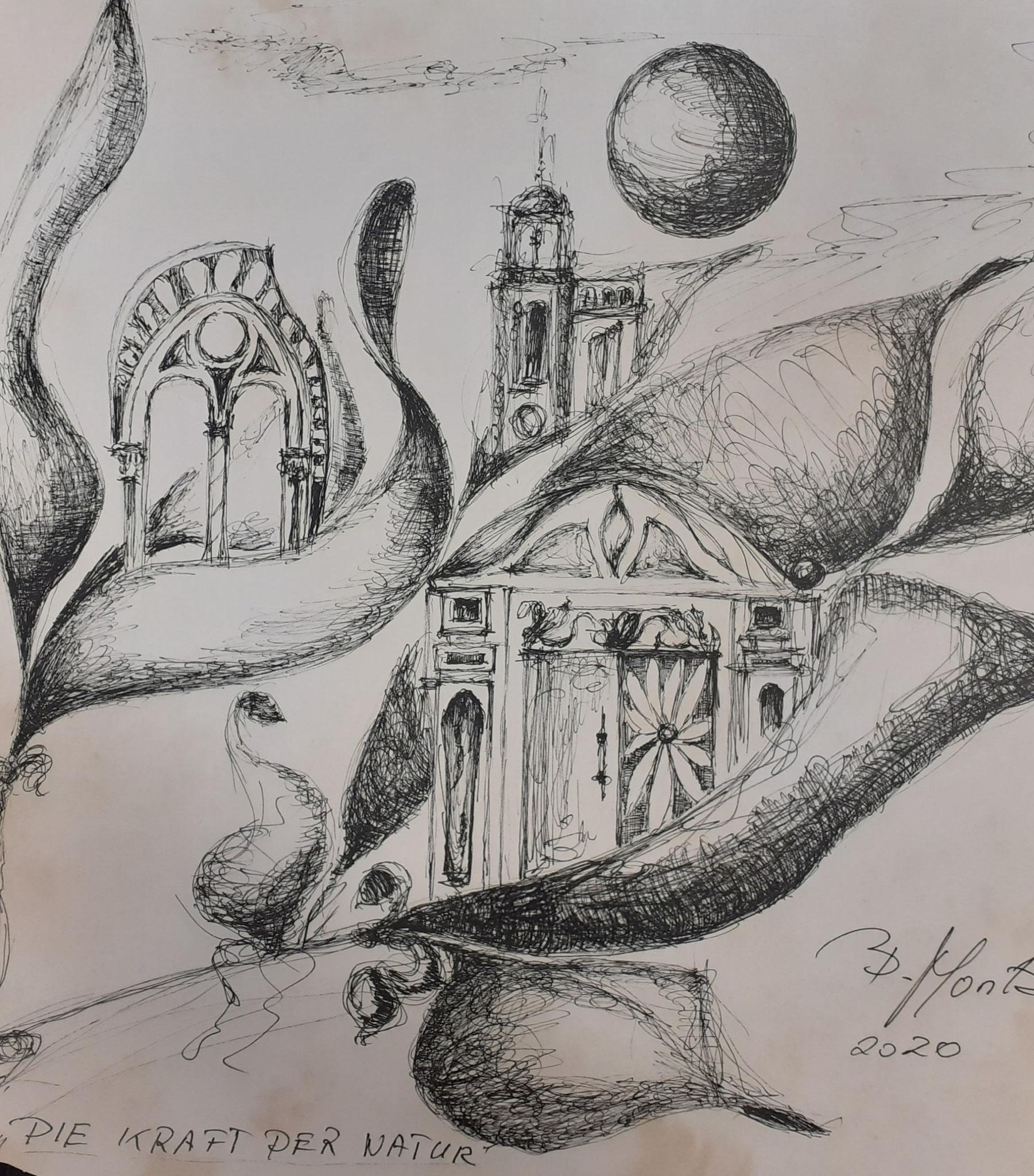 """""""Utopische Städte"""", Zeichnung, 30 x 30cm"""