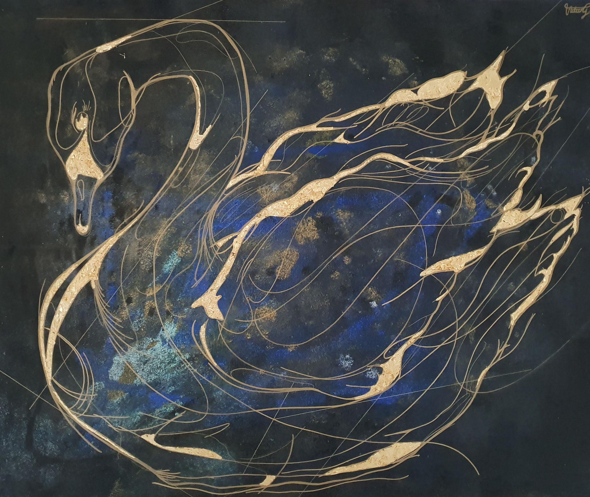 lovely golden swan, 120x100cm, 2020, Acryl und Blattgold auf Leinwand