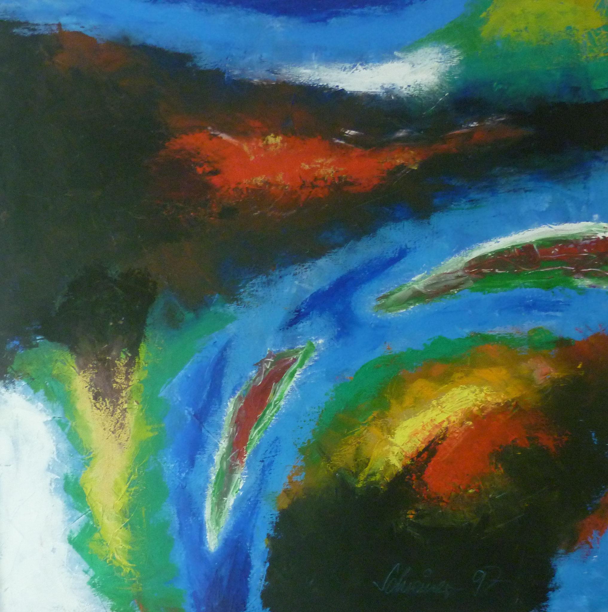 Landschaft abstrakt, Öl auf Leinwand, 75 x 75 cm