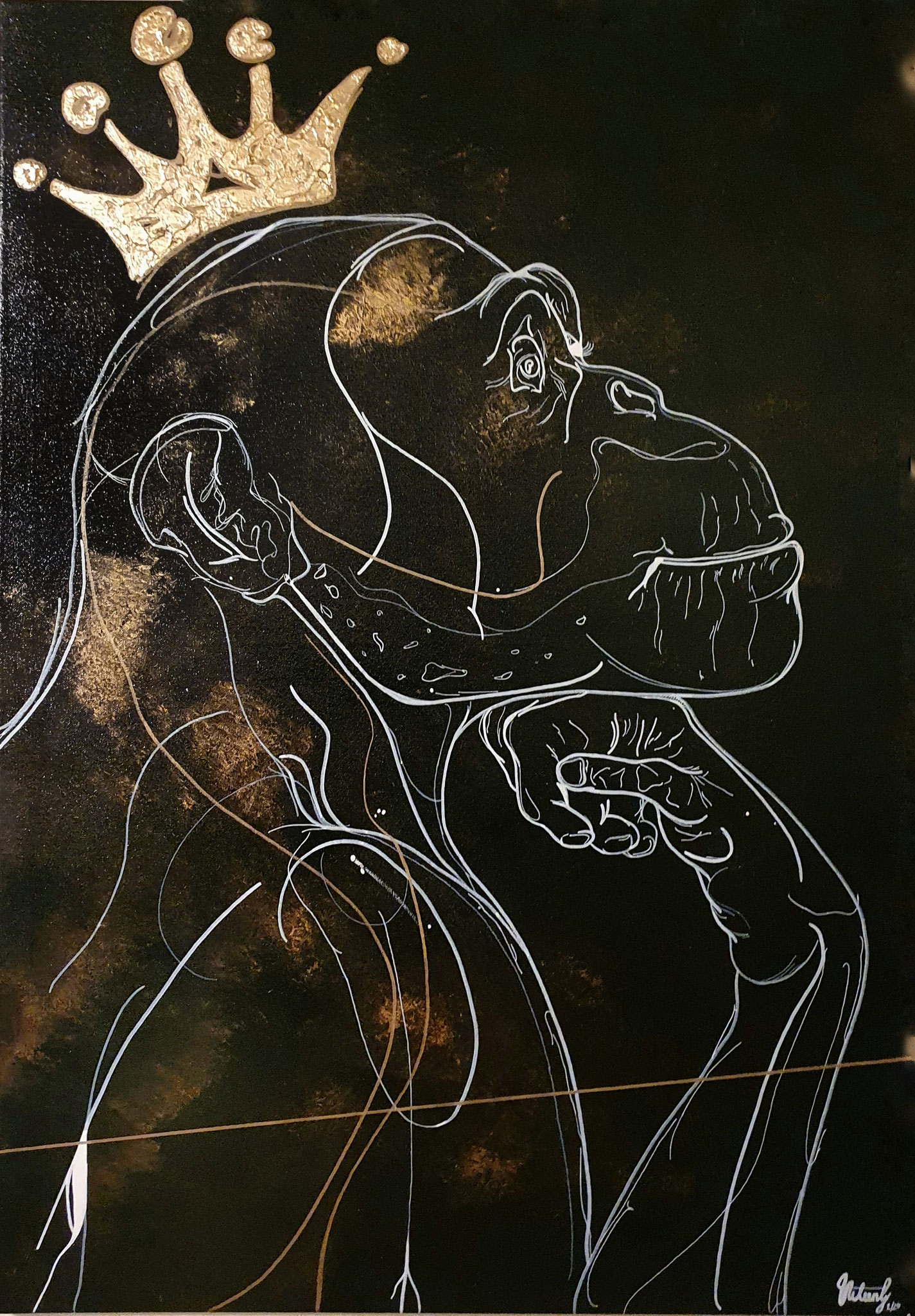 secret thoughts, 100x70cm, 2020, Acryl und Blattgold auf Leinwand