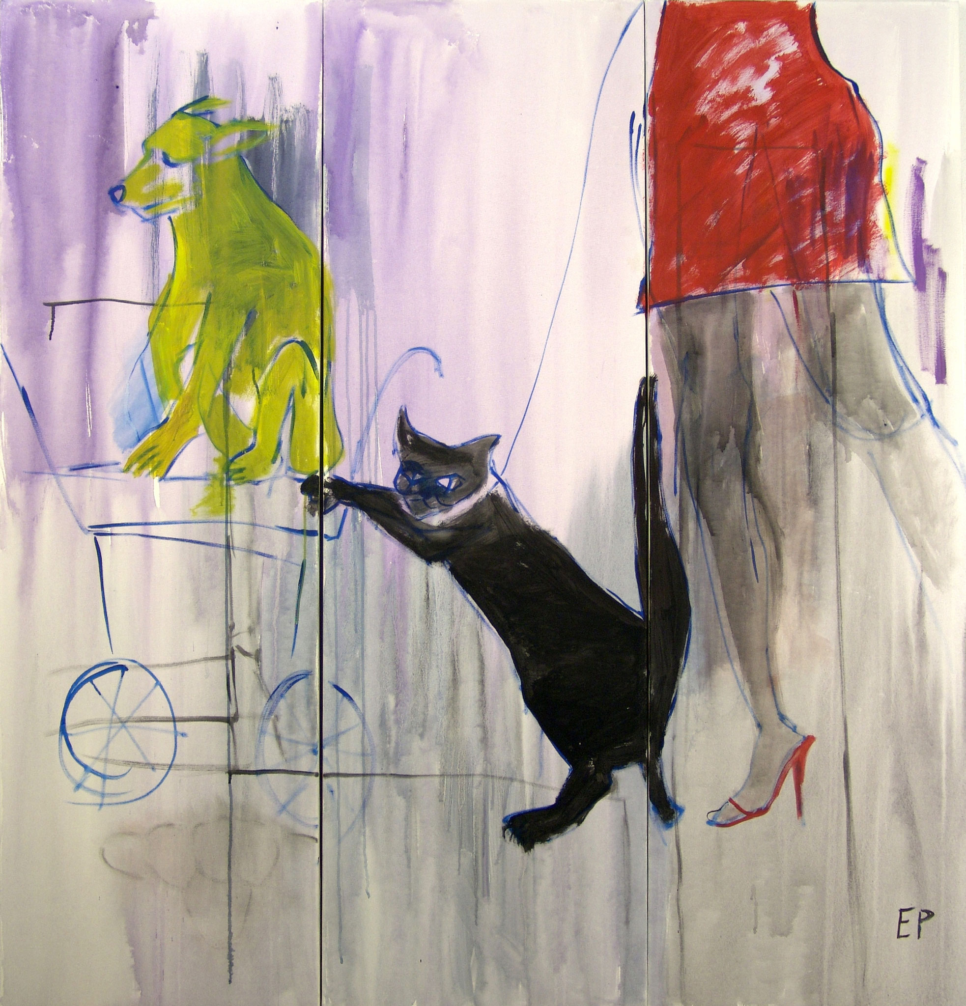 Serie Ketz, Mimi geht spazieren (Triptychon), Malerei, 3 x 160 x  50 cm, 2010