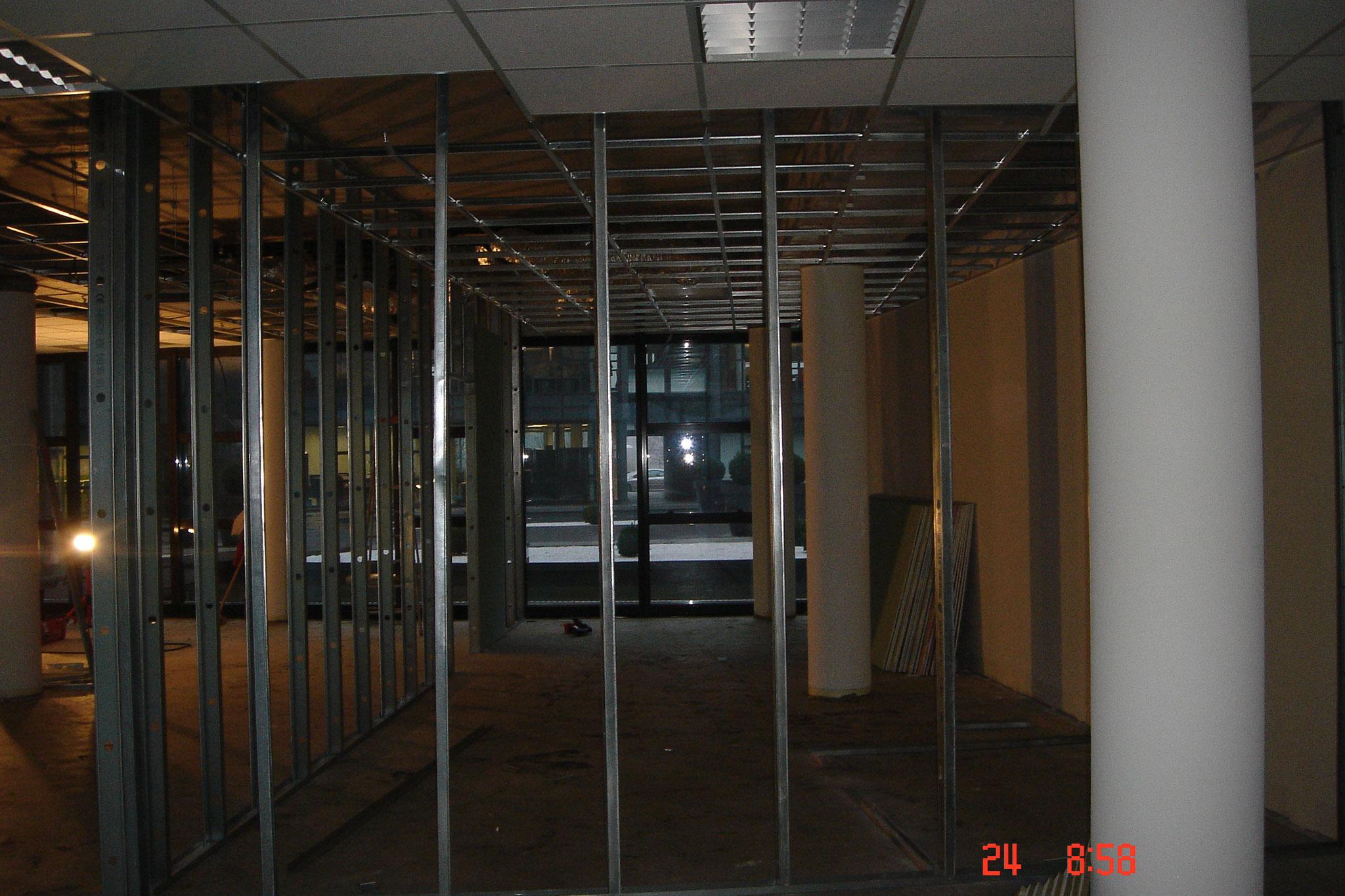 Cloison distribution à ossature métallique épaisseur 72 mm parement simple compris isolation Strasbourg 67 Activ Renovation