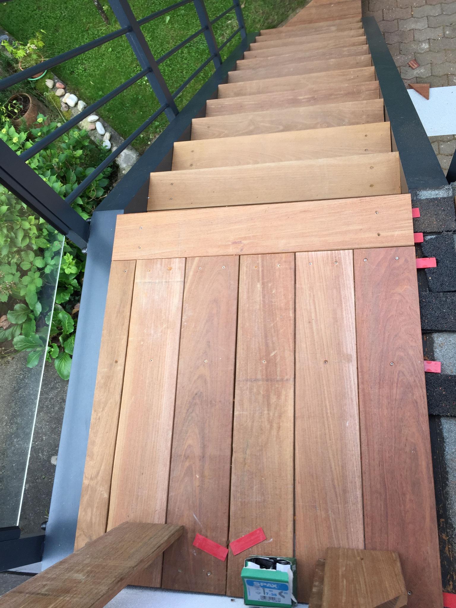 Terrasse en bois exotique (Ipé) sur pilotis + escalier Strasbourg 67 Activ Renovation