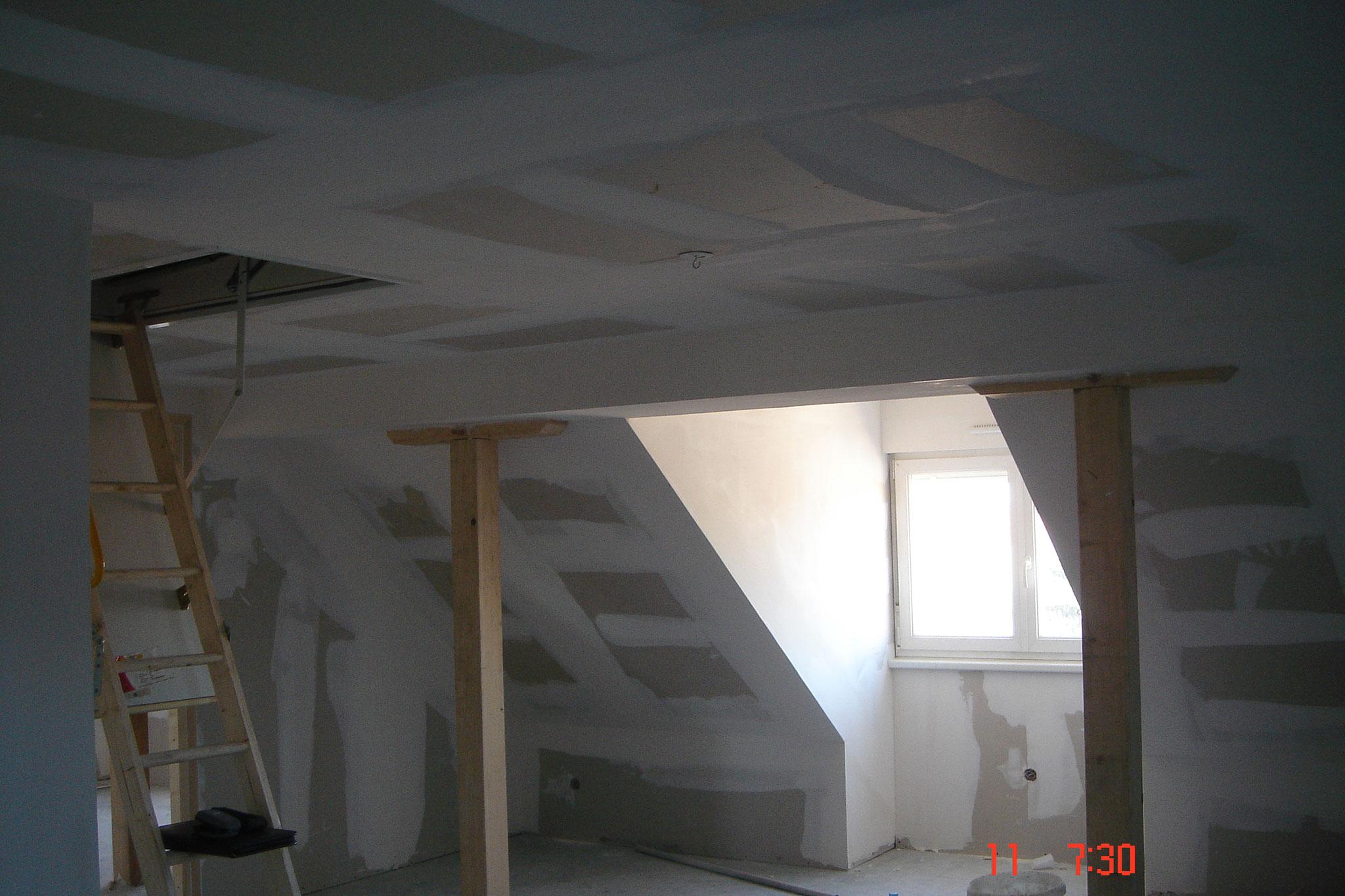 Une finition de joues de fenêtre et faux-plafond avec plaque de plâtre Strasbourg 67 Activ Renovation
