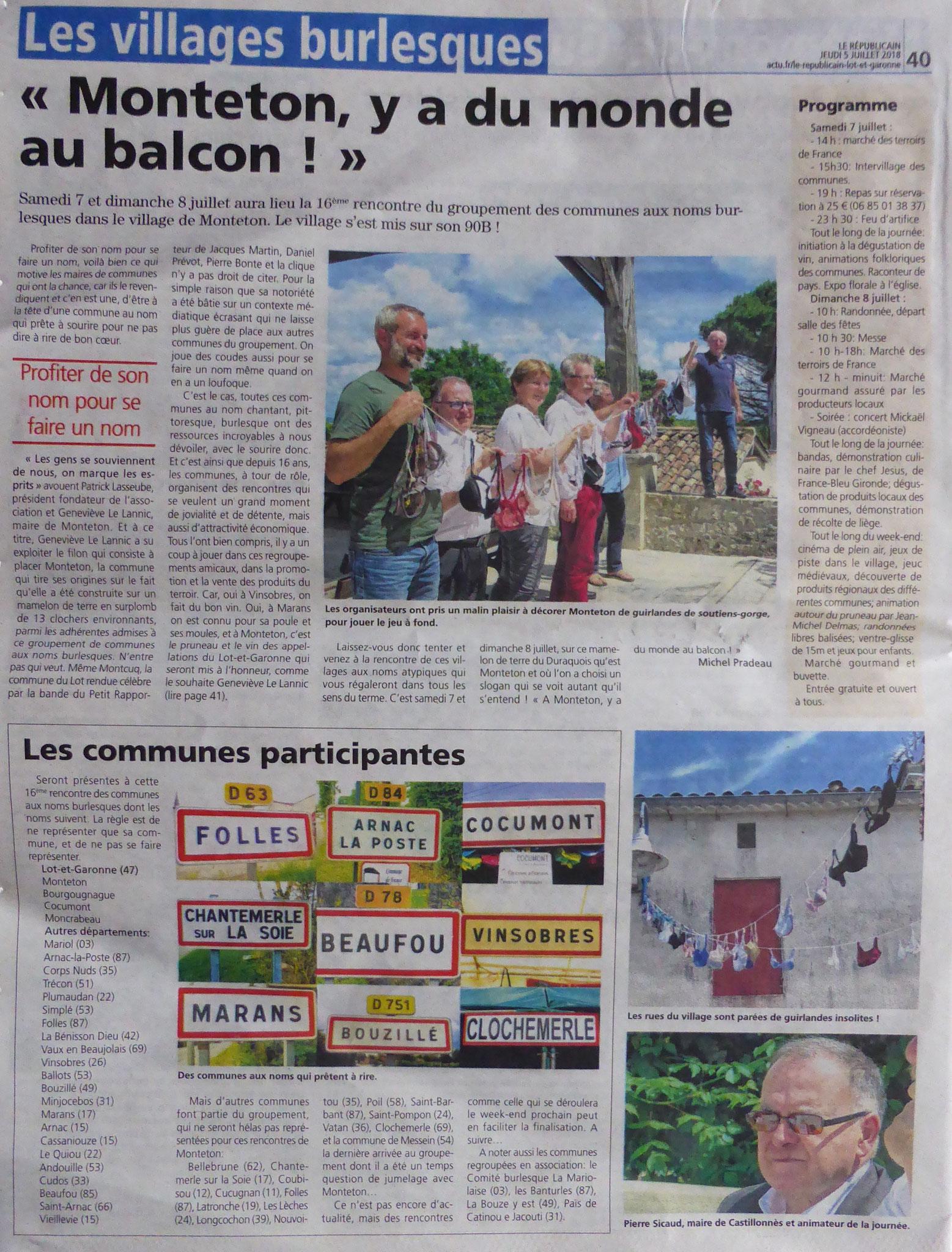 MONTETON - Le Républicain - Marmande - 5 juillet 2018 - 1/2