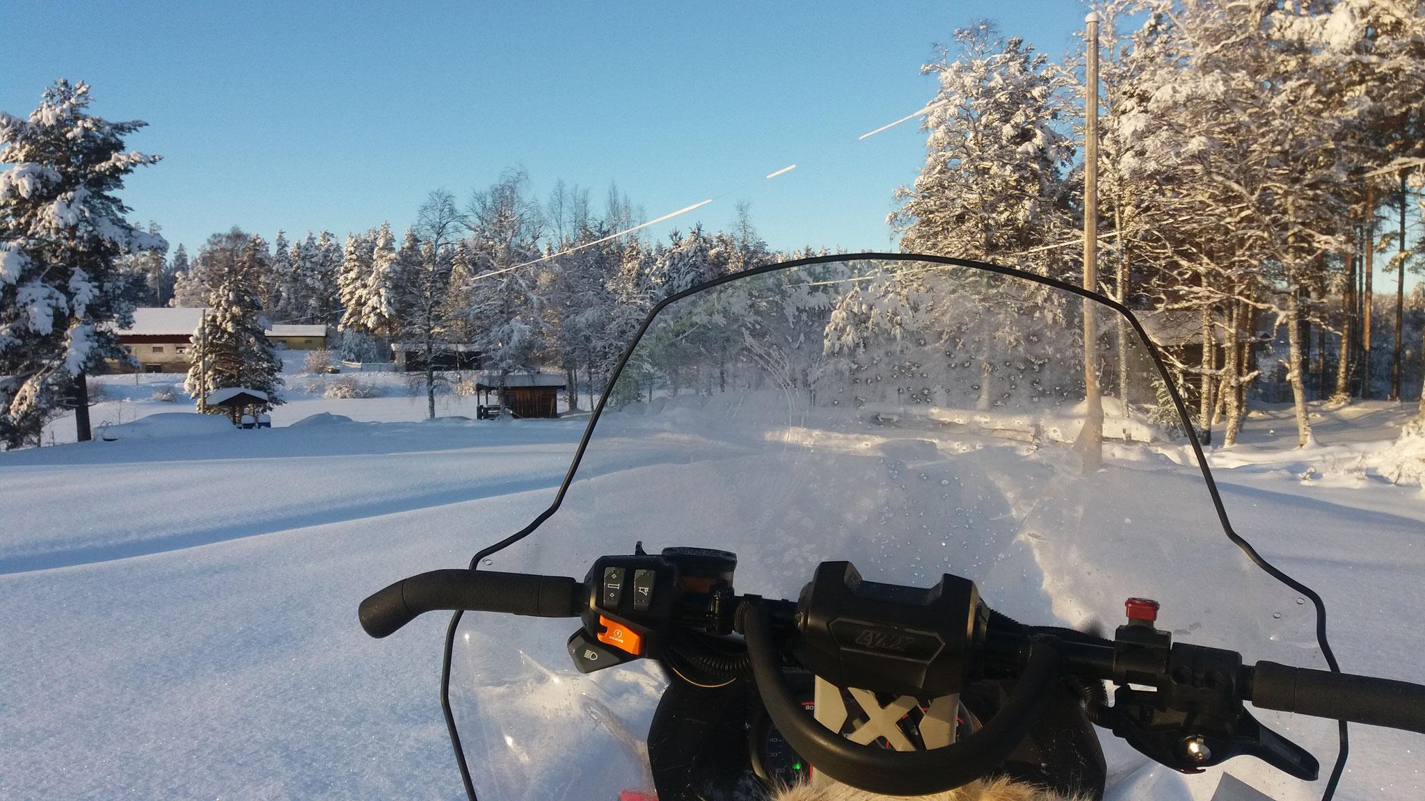 das ist der Blick vom Snowmobil aus!