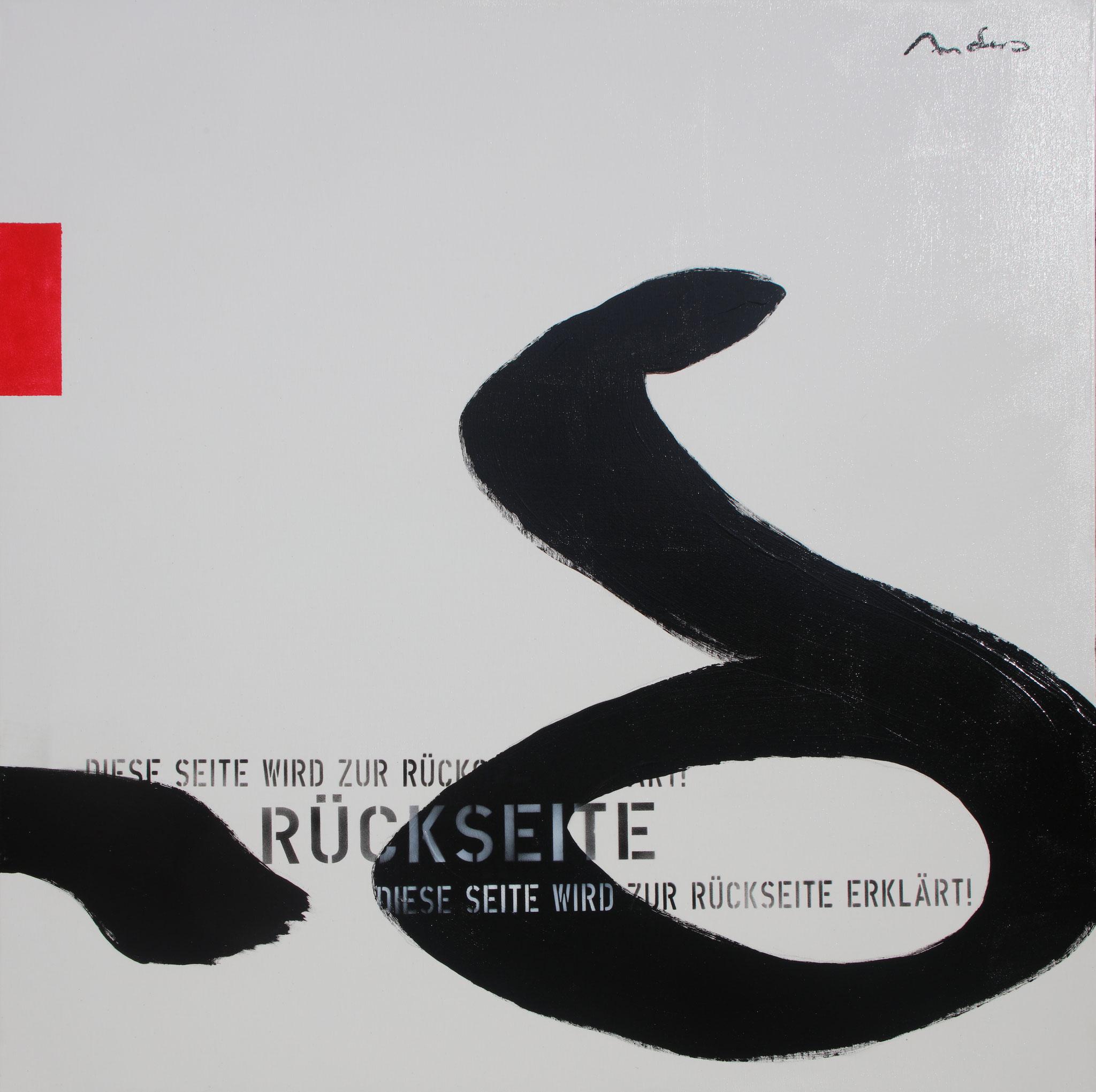 Heureka V - Rückseite - Acryl-/Mischtechnik auf Leinwand - 100 x 100 cm