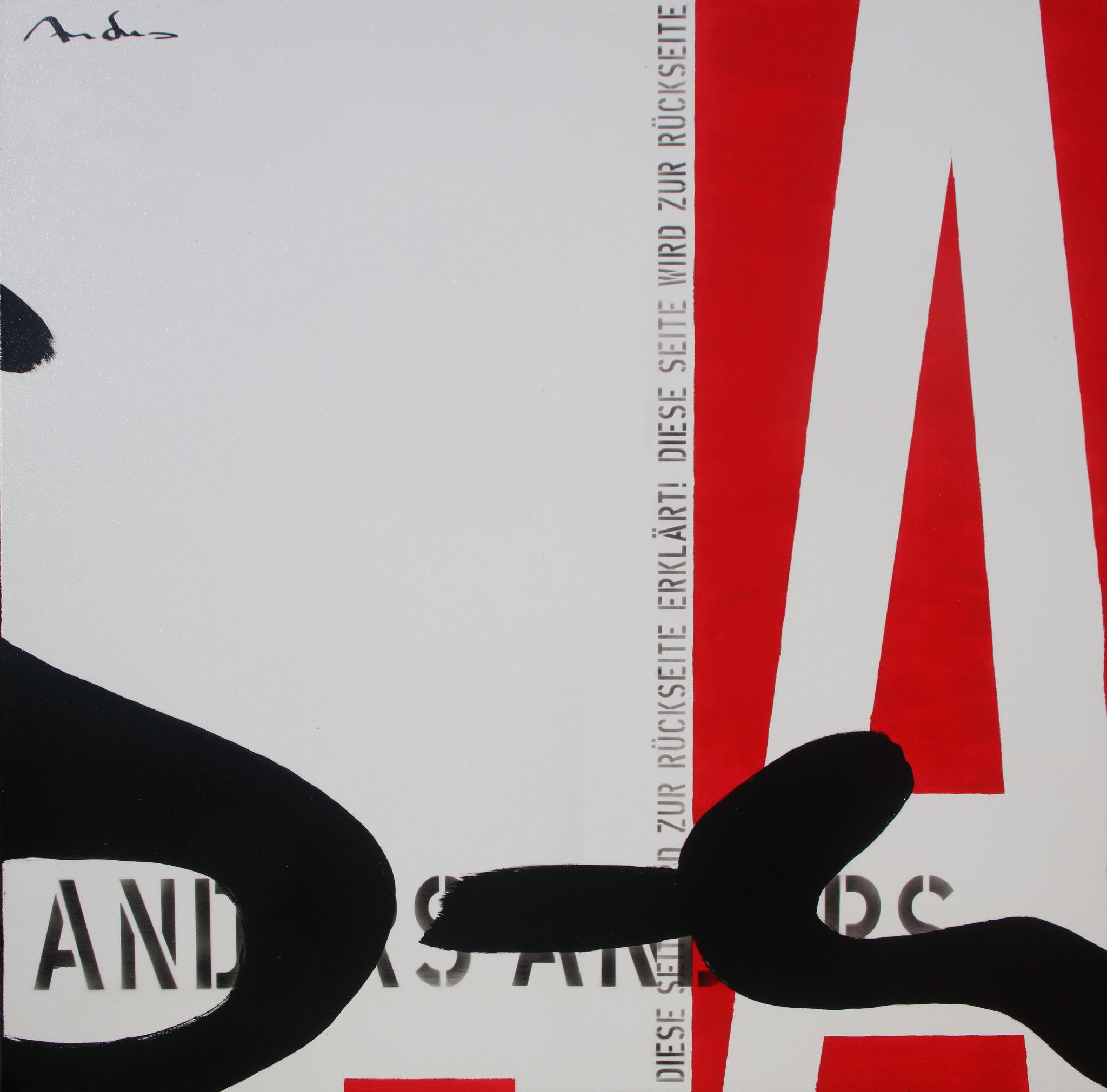Heureka X - Rückseite - Acryl-/Mischtechnik auf Leinwand - 100 x 100 cm