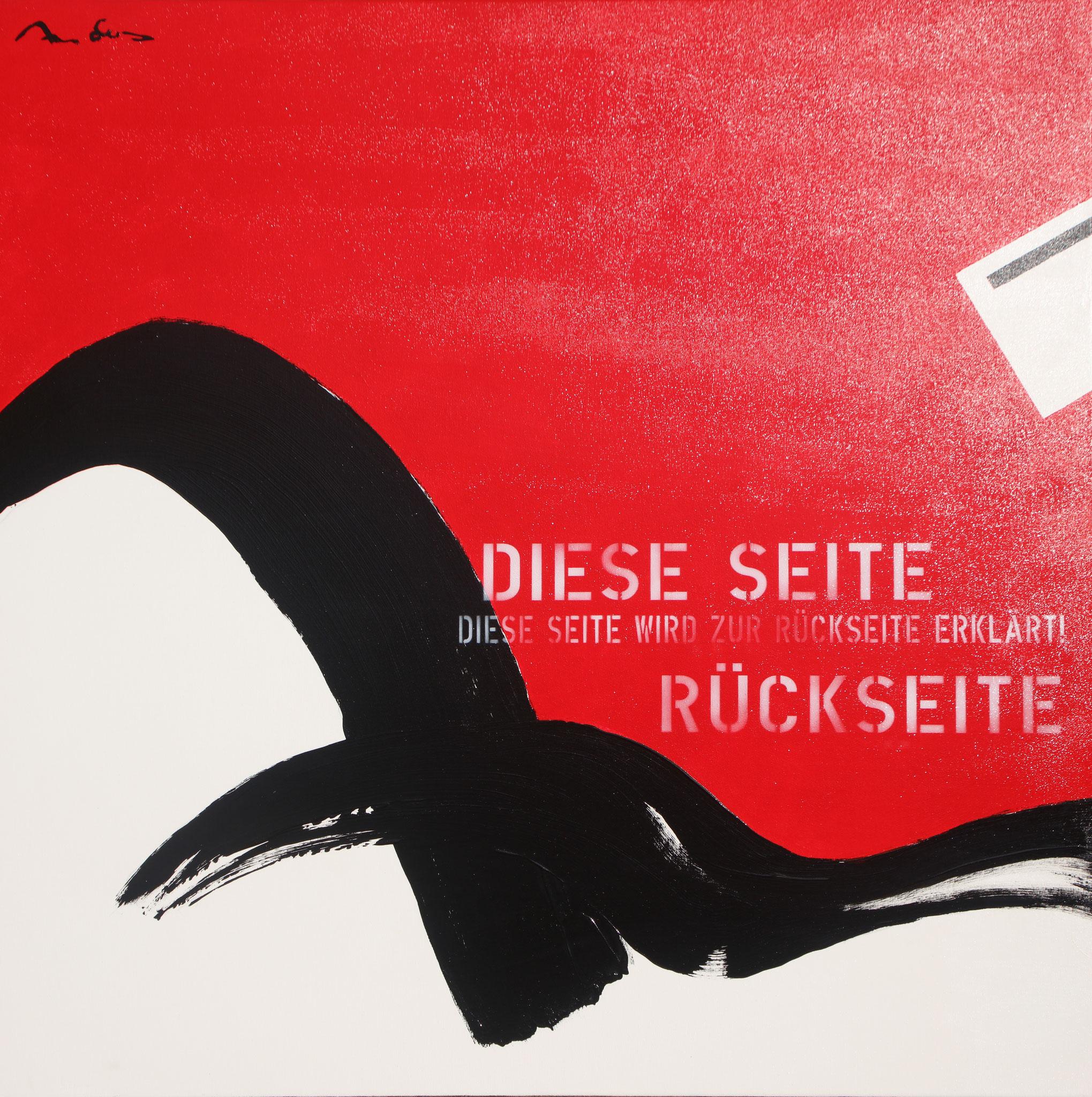 Heureka VI - Rückseite - Acryl-/Mischtechnik auf Leinwand - 100 x 100 cm