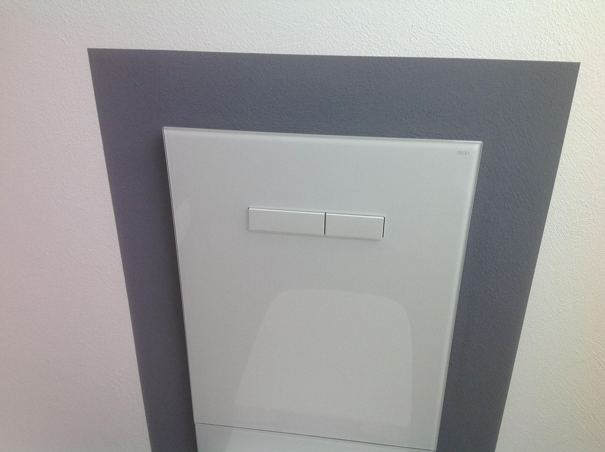 Ohne Fliesen - WC mit Glasrückwand