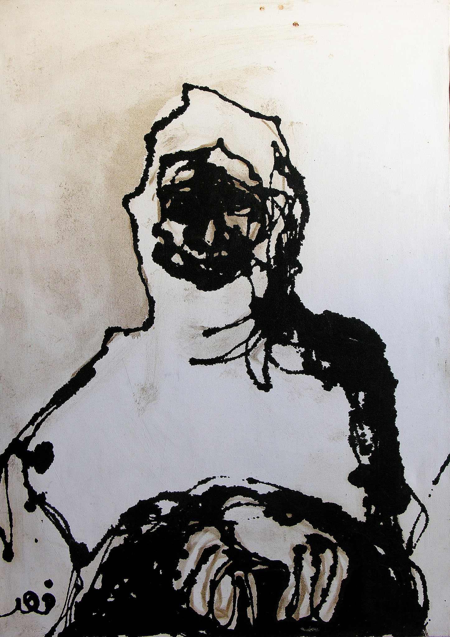 Women, Acrylic and tar on canvas, 80 x 110 cm, 2000