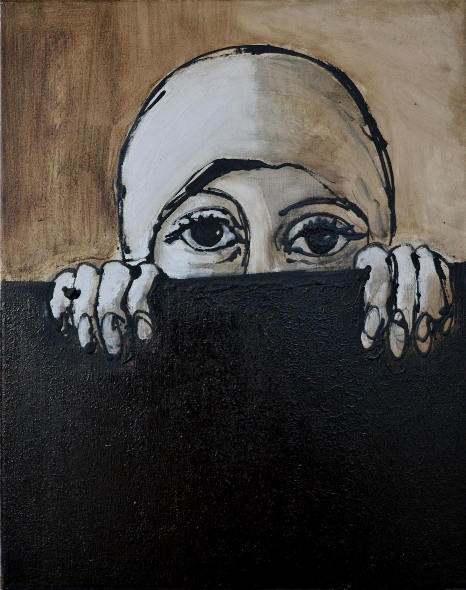 Spying woman, Acrylic and tar on canvas, 50 x 40 cm, 2014