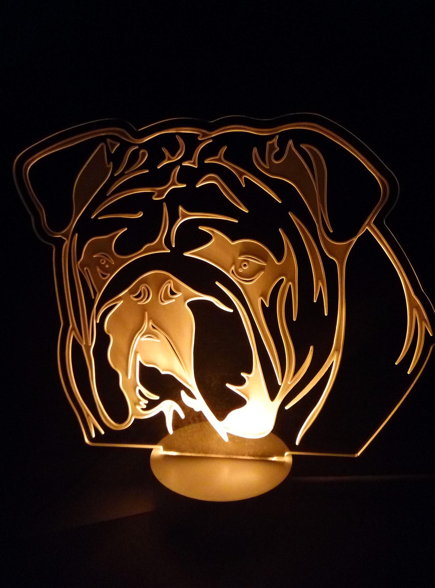 Светильник, порода английский бульдог