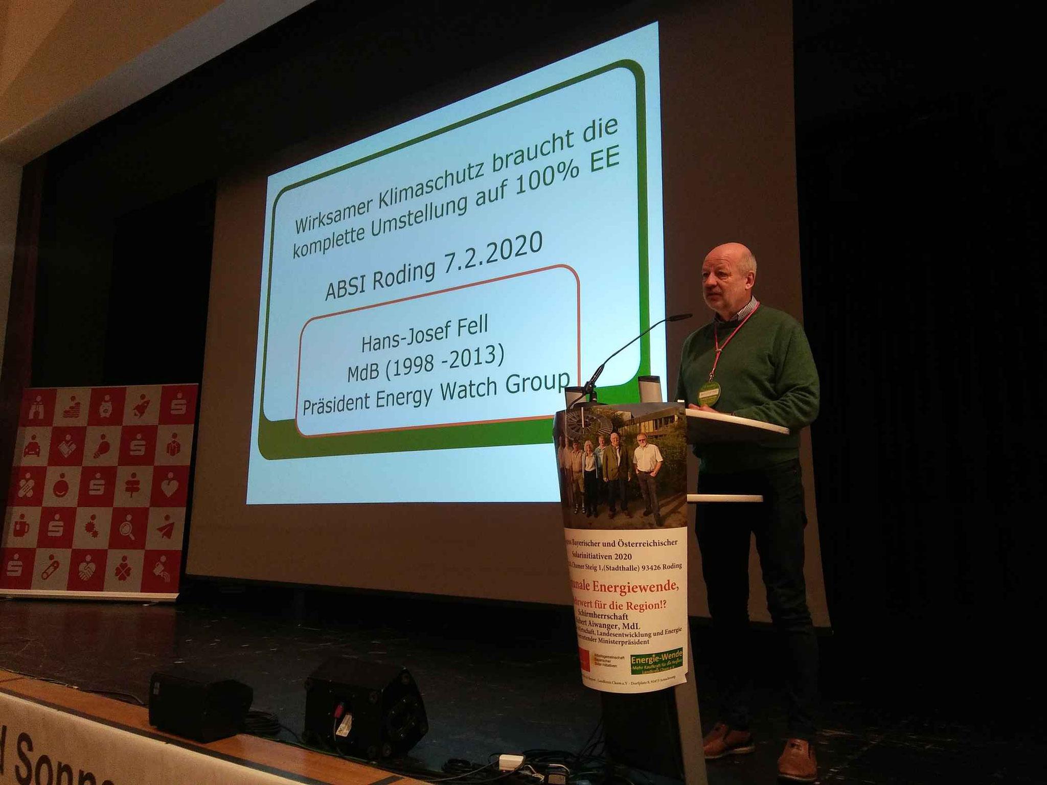 Hans-Josef Fell/ EnergyWatchGroup, Berlin: Die Zeit drängt zu erneuerbaren Energien und Klimaschutz ... Mahnung an Kommunen