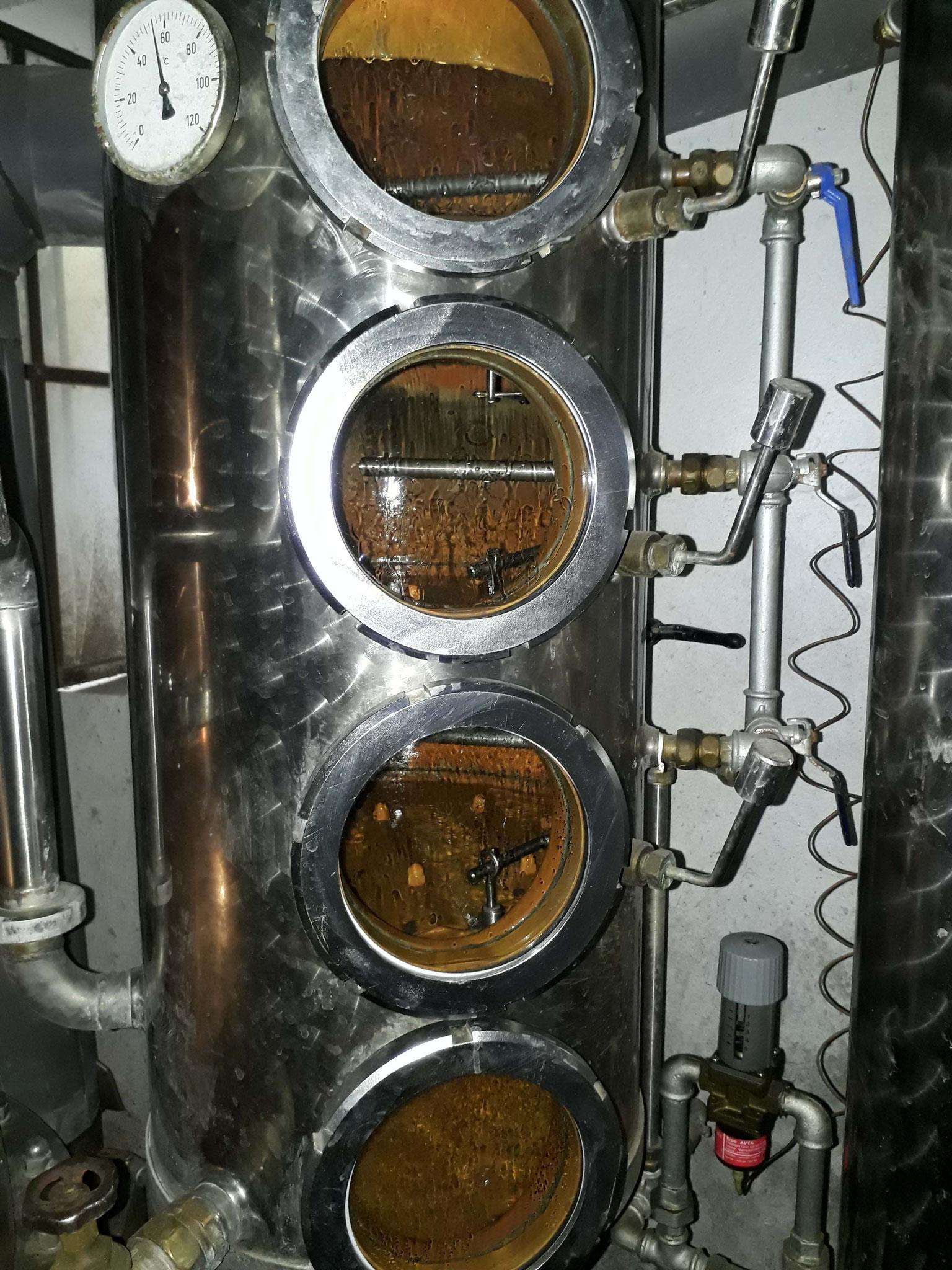 Die aufsteigenden Alkoholdämpfe werden in der Feinbrandkolonne konzentriert und gereinigt.