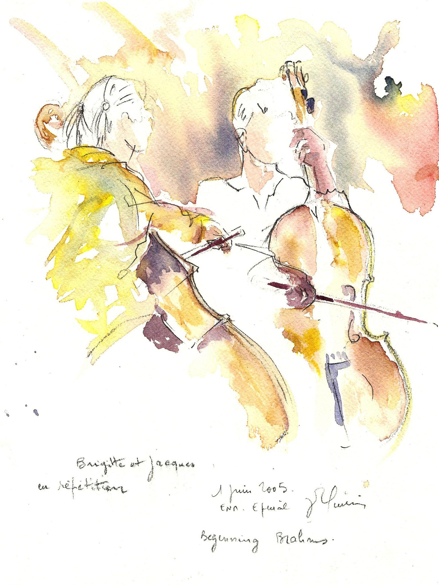 Aquarelle en direct répétition orchestre à cordes école nationale de musique d'épinal
