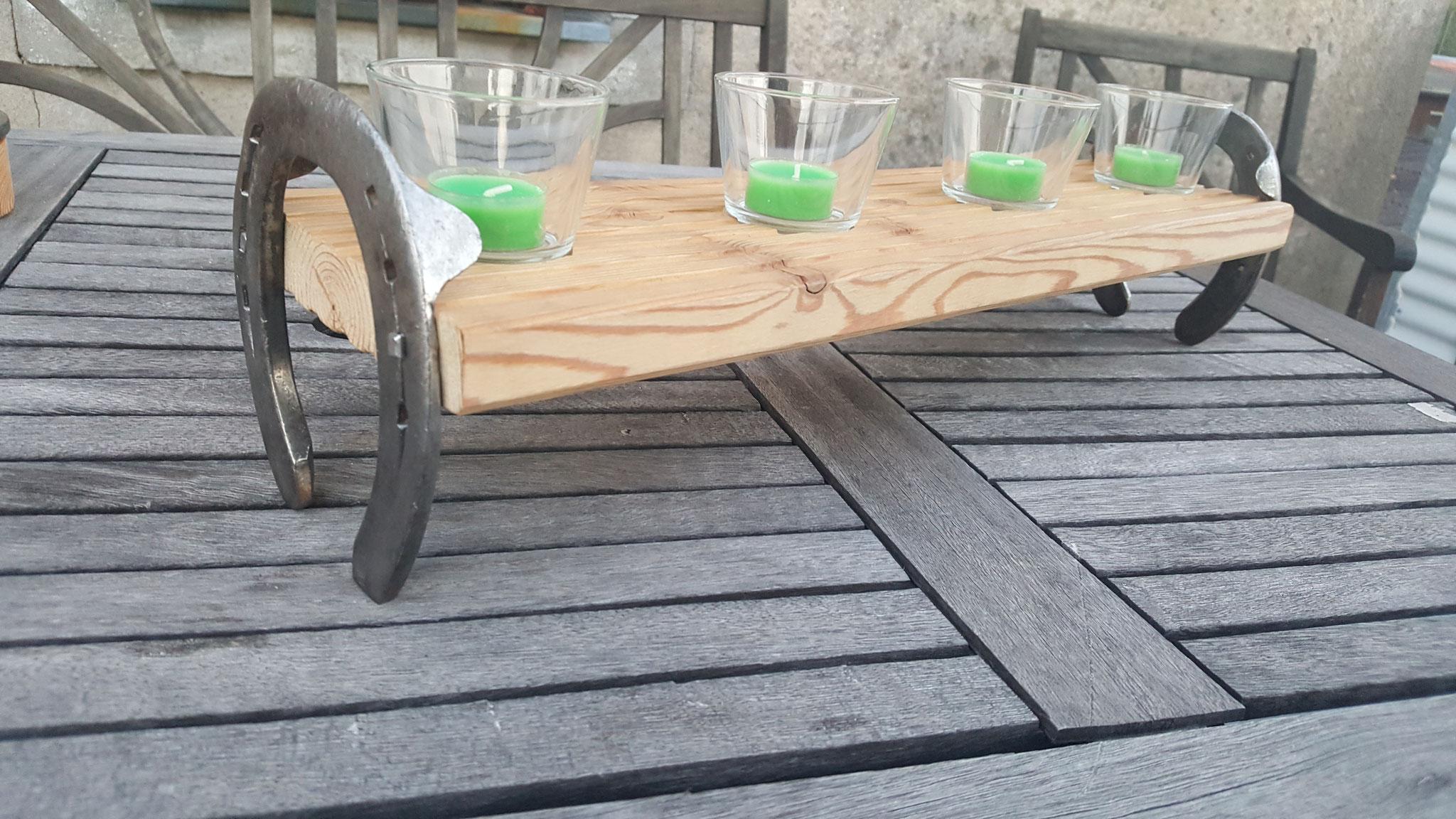 Teelichthalter/Kerzenhalter mit orig. Hufeisen