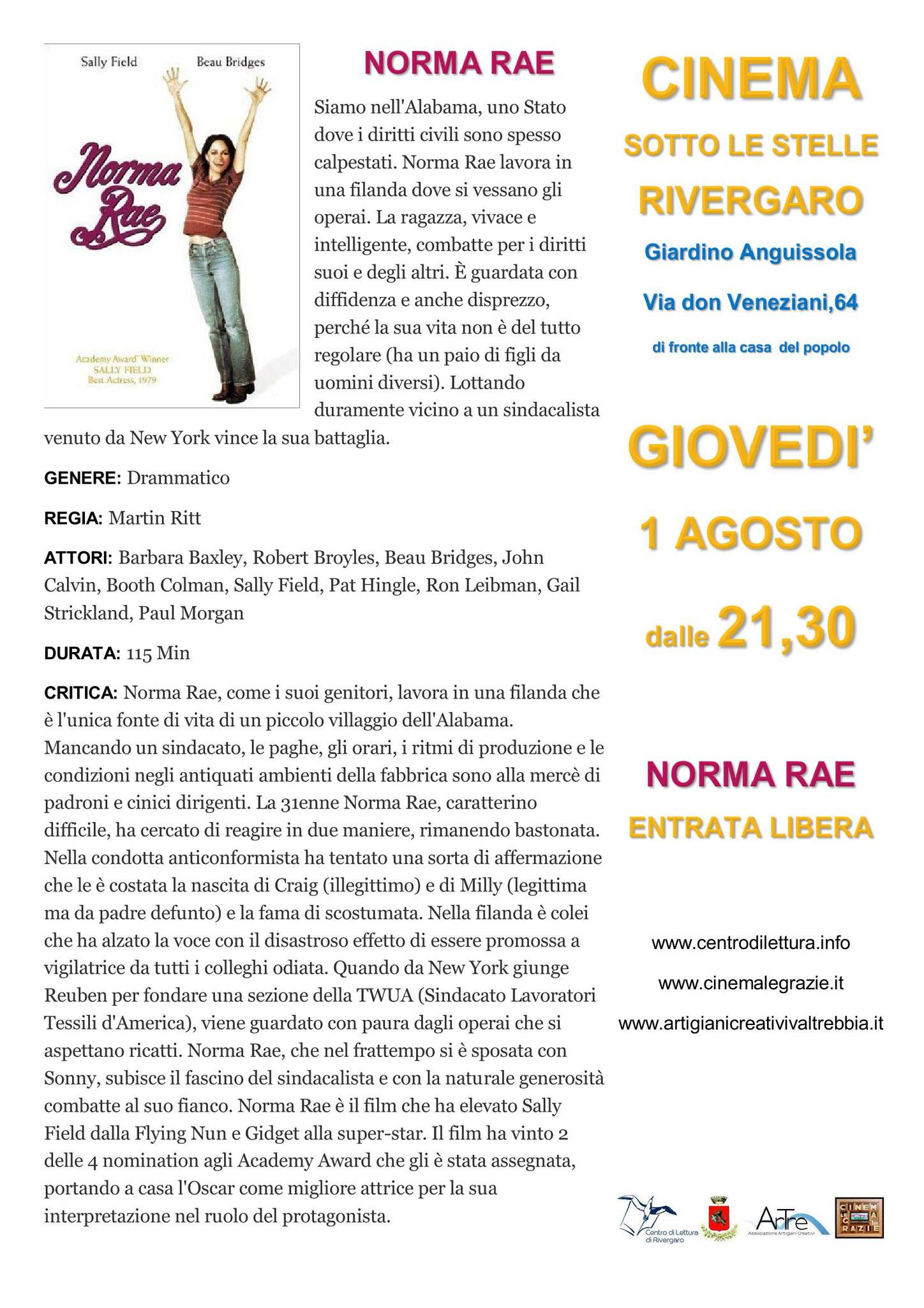 Rivergaro: Cinema Sotto Le Stelle 2019 NORMA RAE  giovedì 1:dalle ore 21:30 giardino di Via Don Veneziani, 64 - Rivergaro (PC) di fronte alla Casa del Popolo #NormaRae